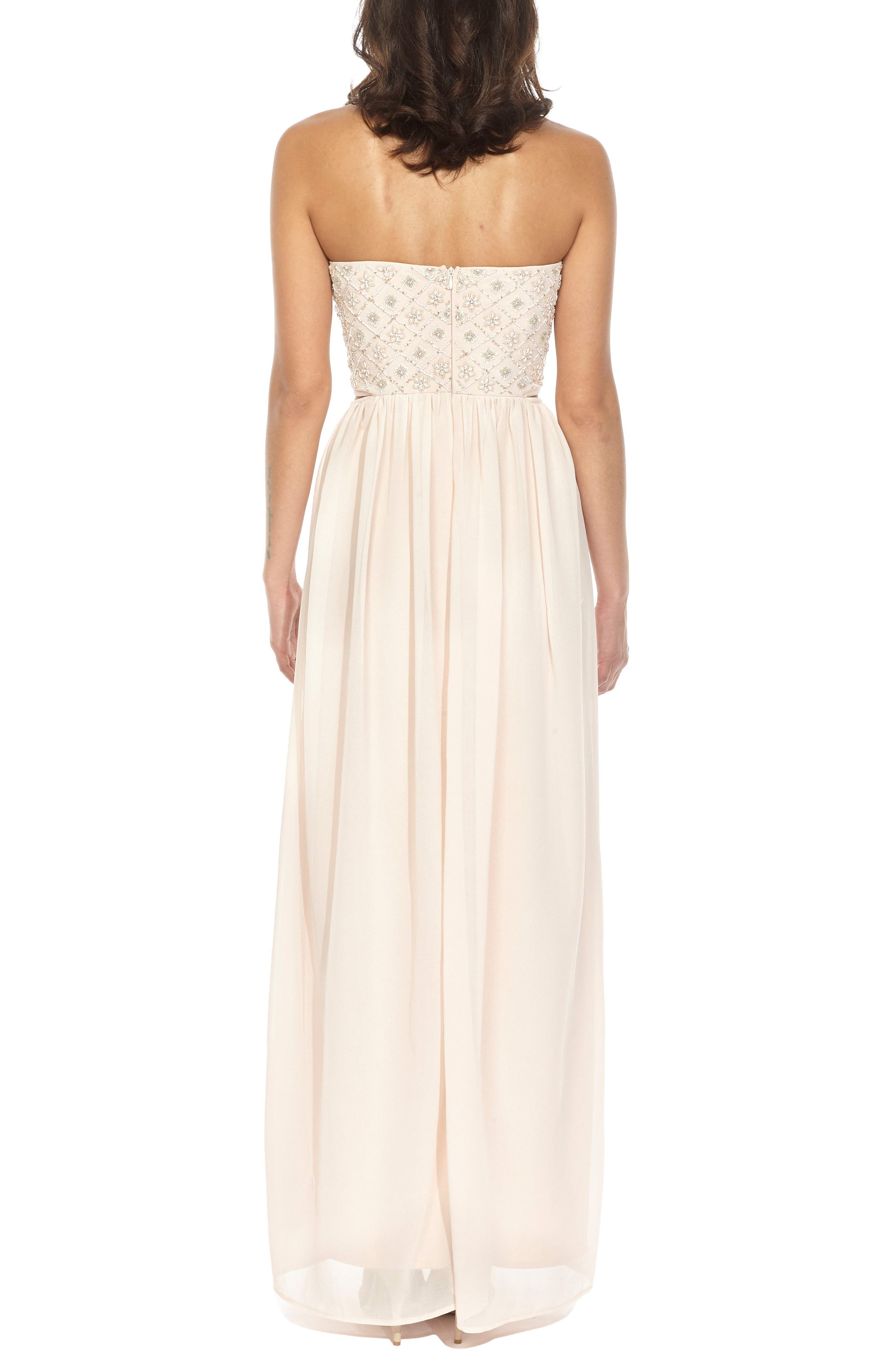 Beaded Bodice Gown,                             Alternate thumbnail 2, color,                             Nude