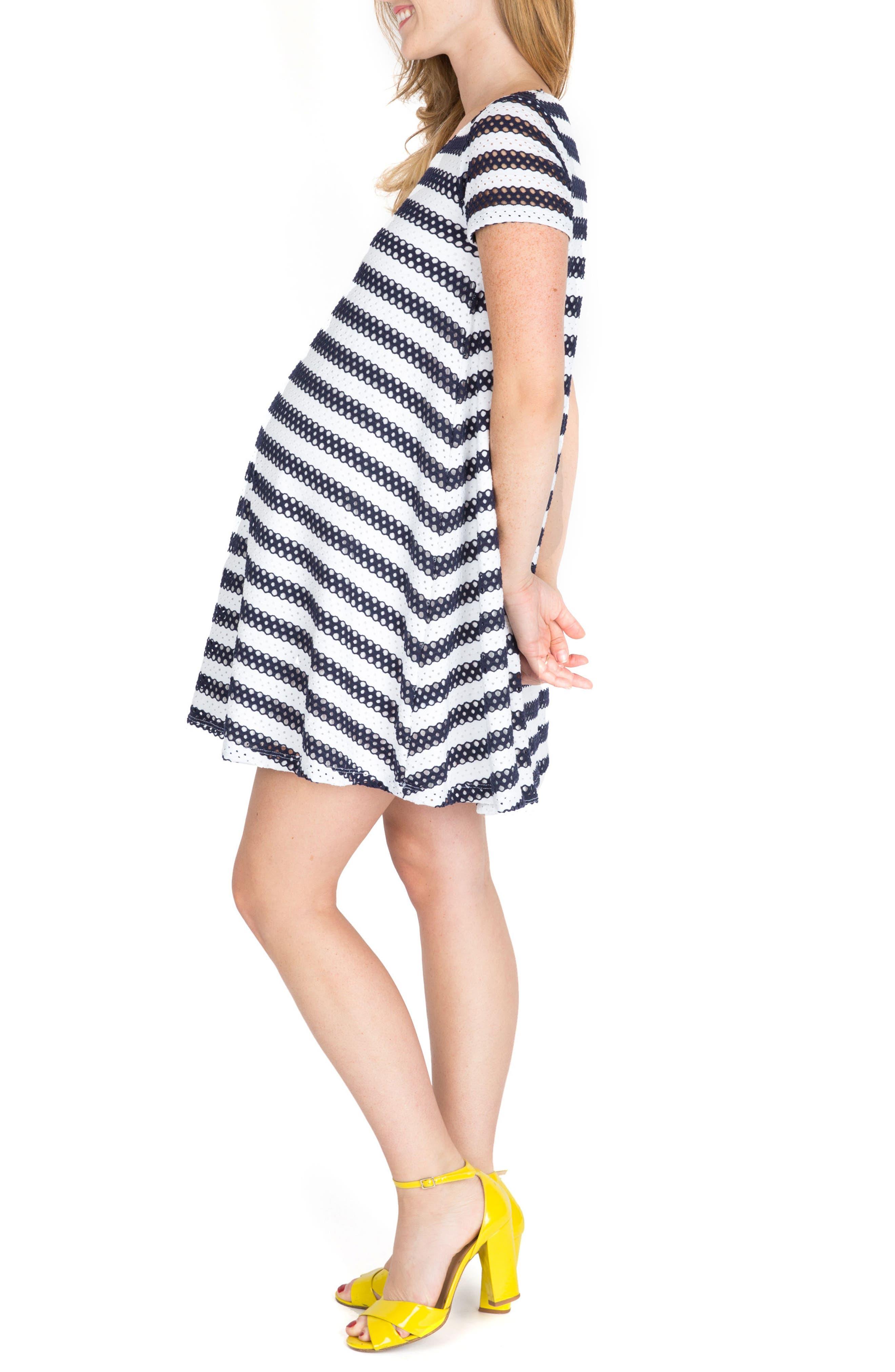Cha Cha Print Maternity Shift Dress,                             Alternate thumbnail 3, color,                             Navy Stripe
