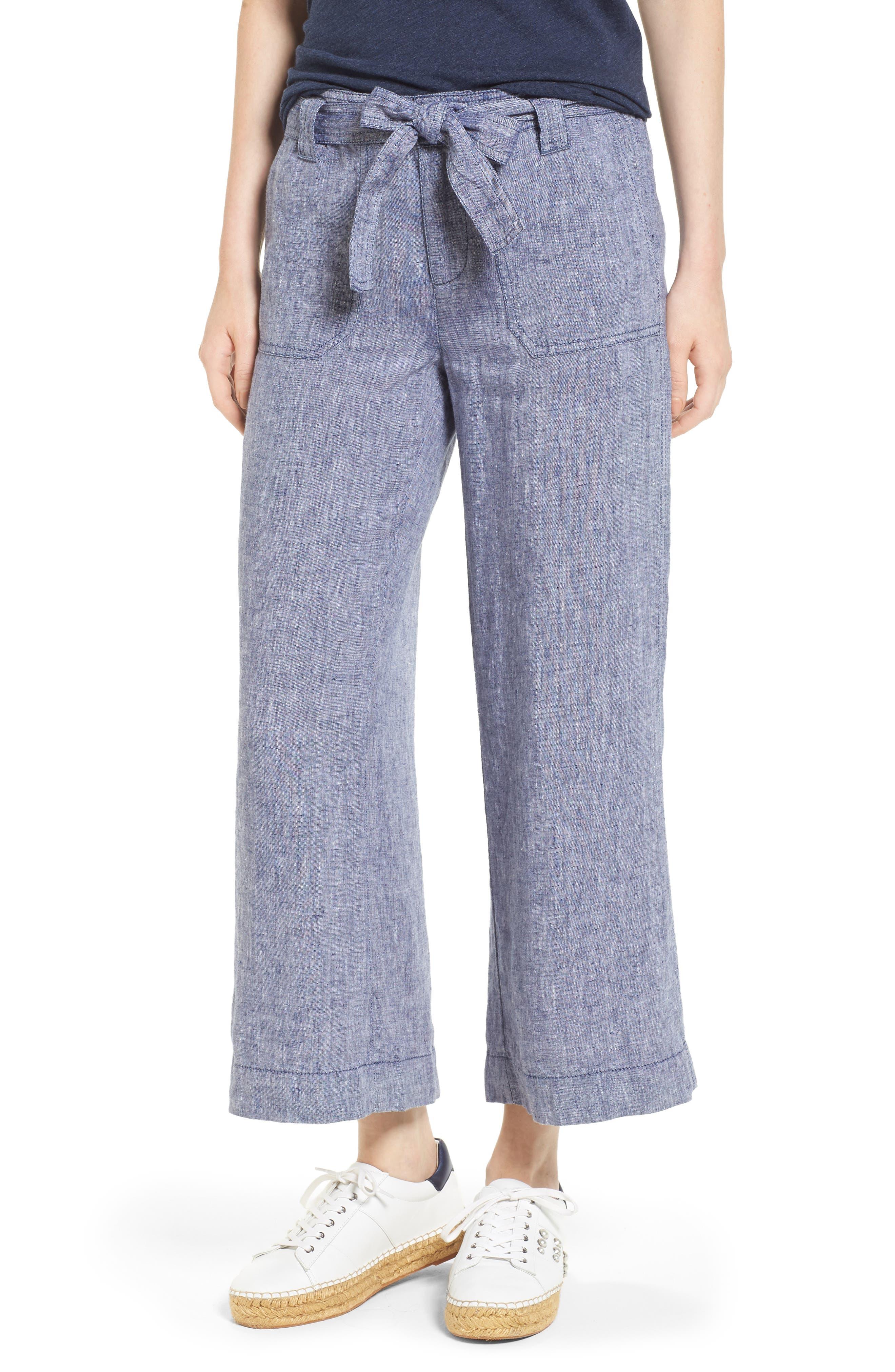 Wide Leg Crop Linen Pants,                         Main,                         color, Navy Crossdye