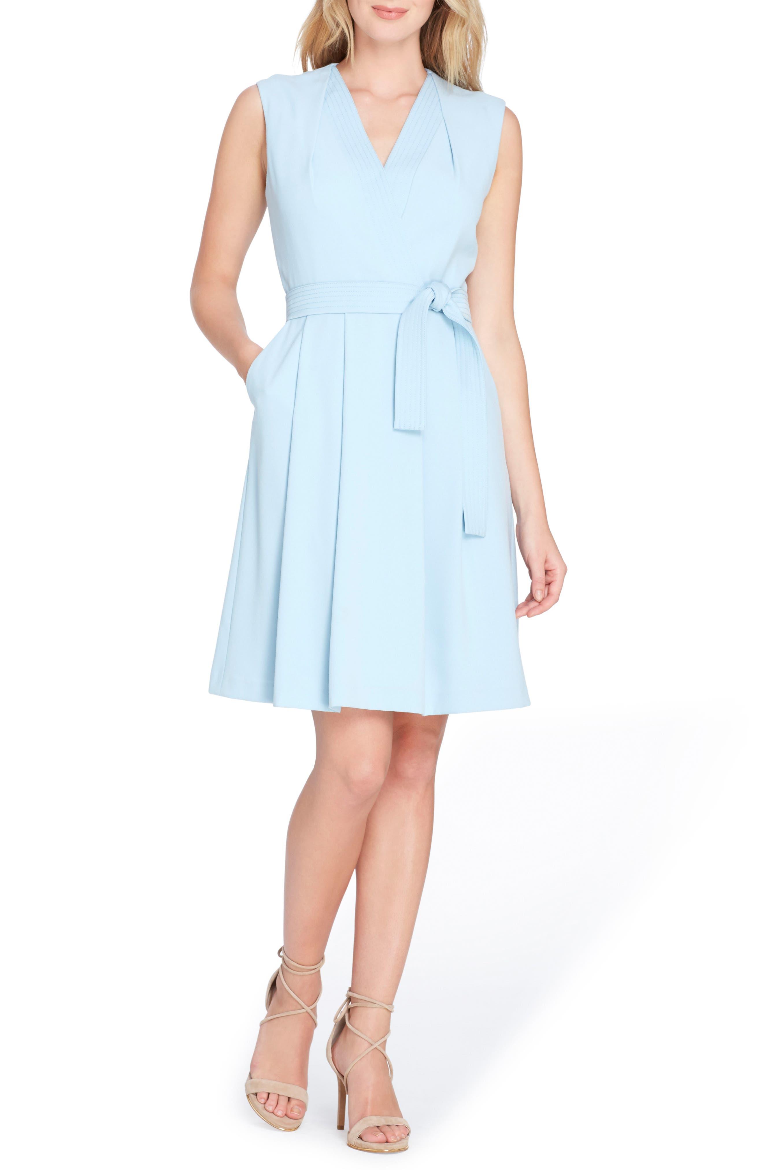 Faux Wrap Dress,                             Main thumbnail 1, color,                             Sky Blue