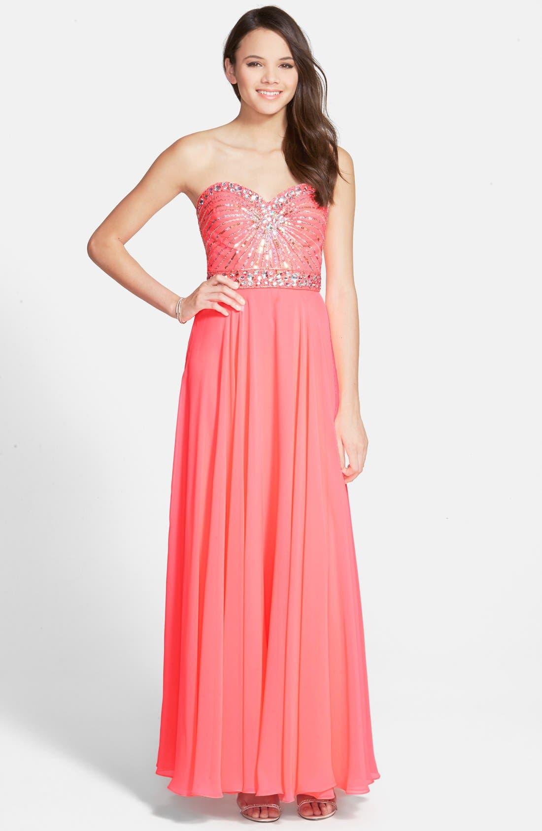 Main Image - Xscape Embellished Chiffon Gown