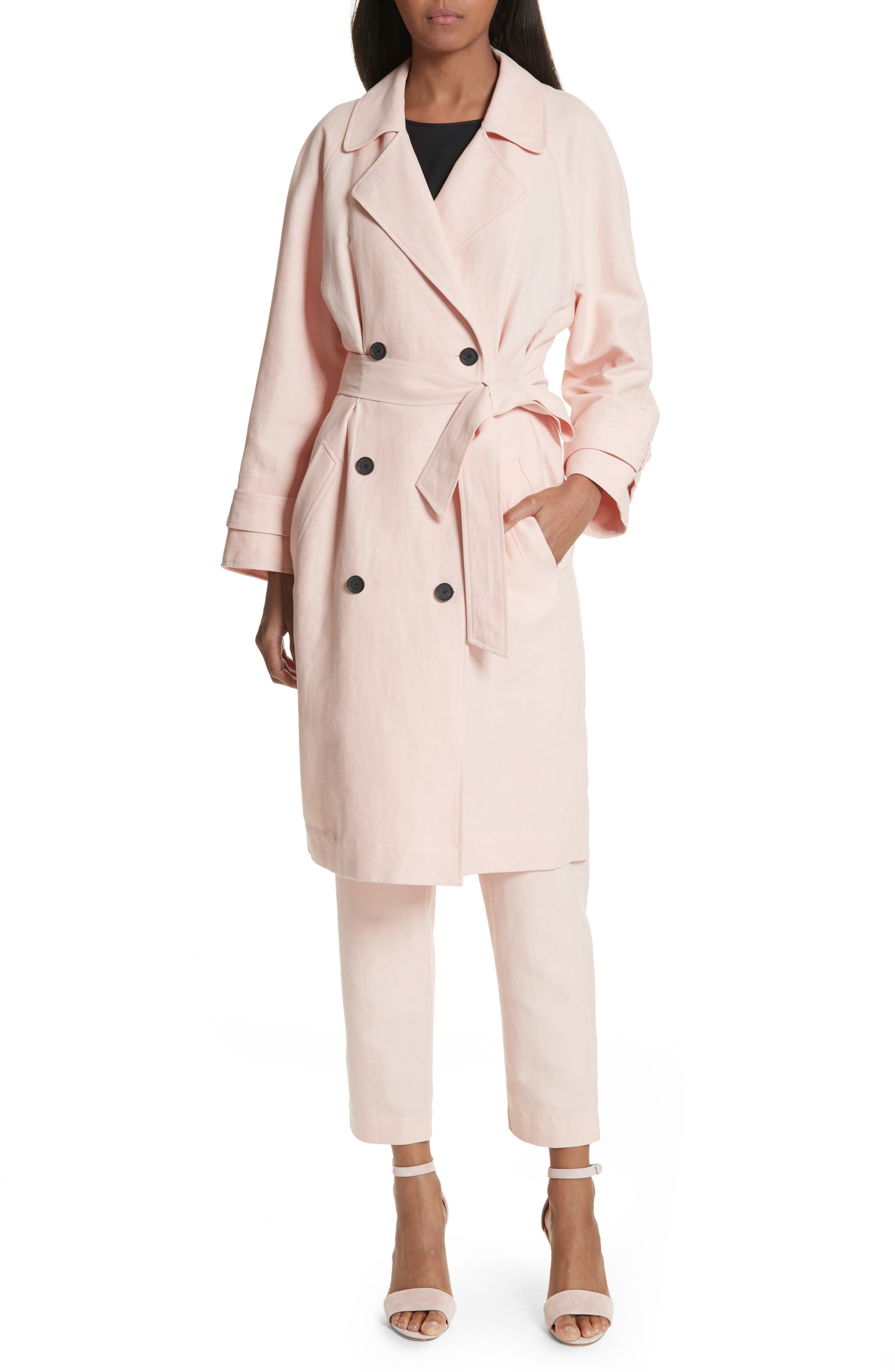 Damonica Trench Coat,                         Main,                         color, Washed Rose