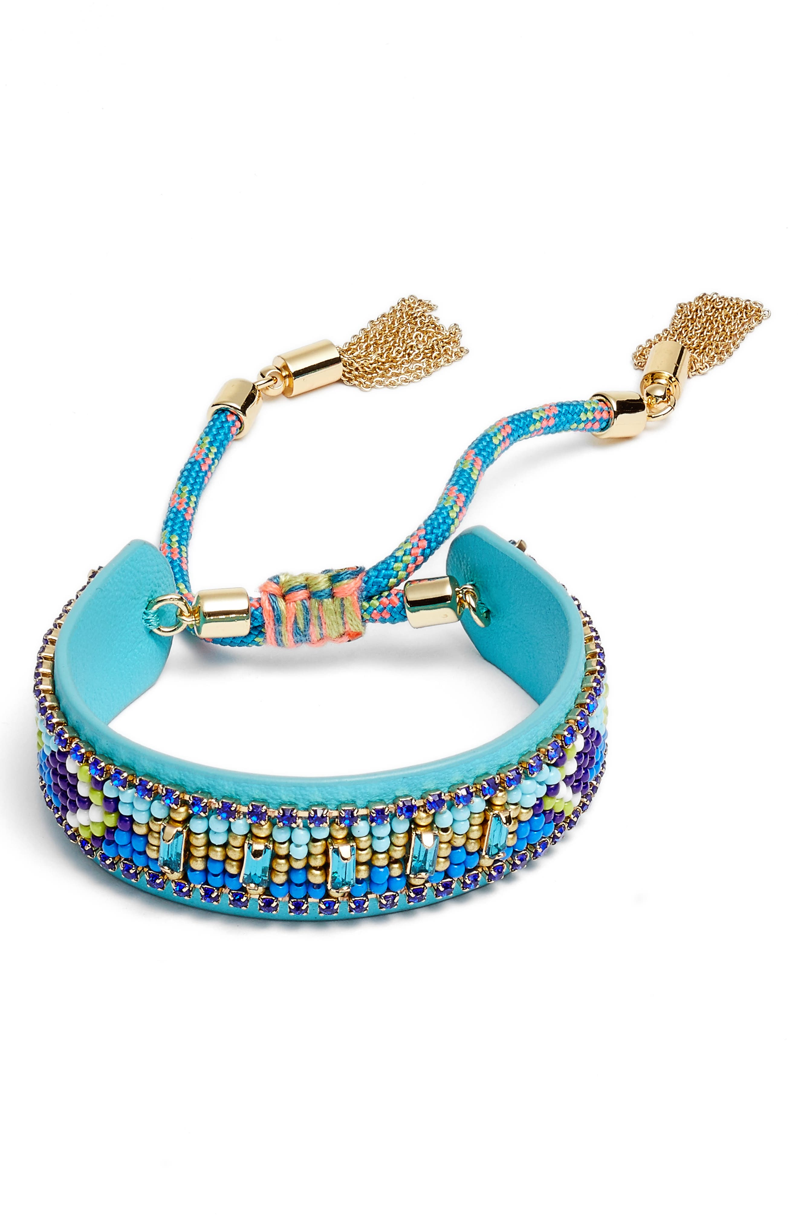 Zigzag Beaded Leather Friendship Bracelet,                             Main thumbnail 1, color,                             Turquoise Multi