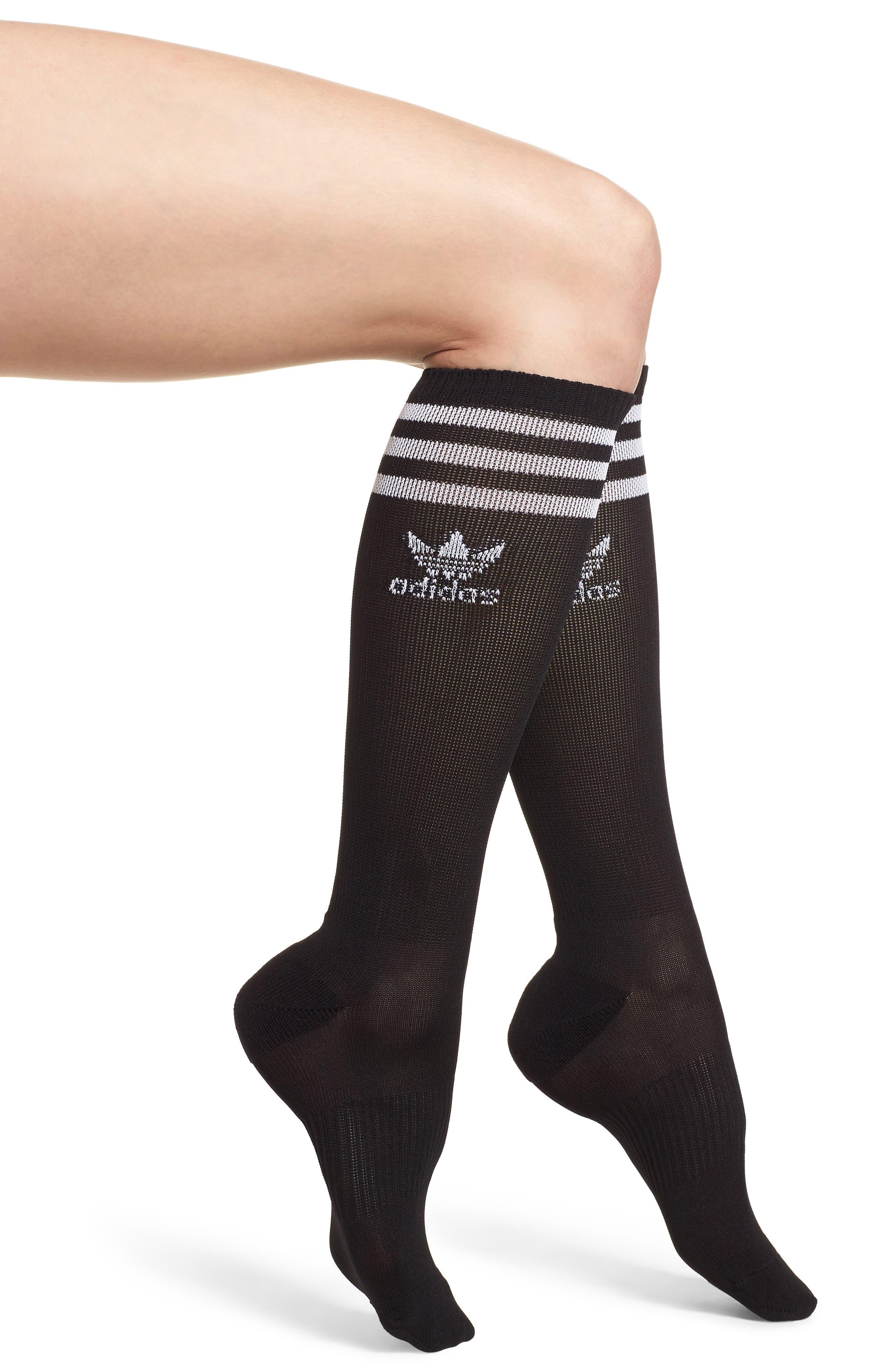Roller Knee High Socks,                             Main thumbnail 1, color,                             Black