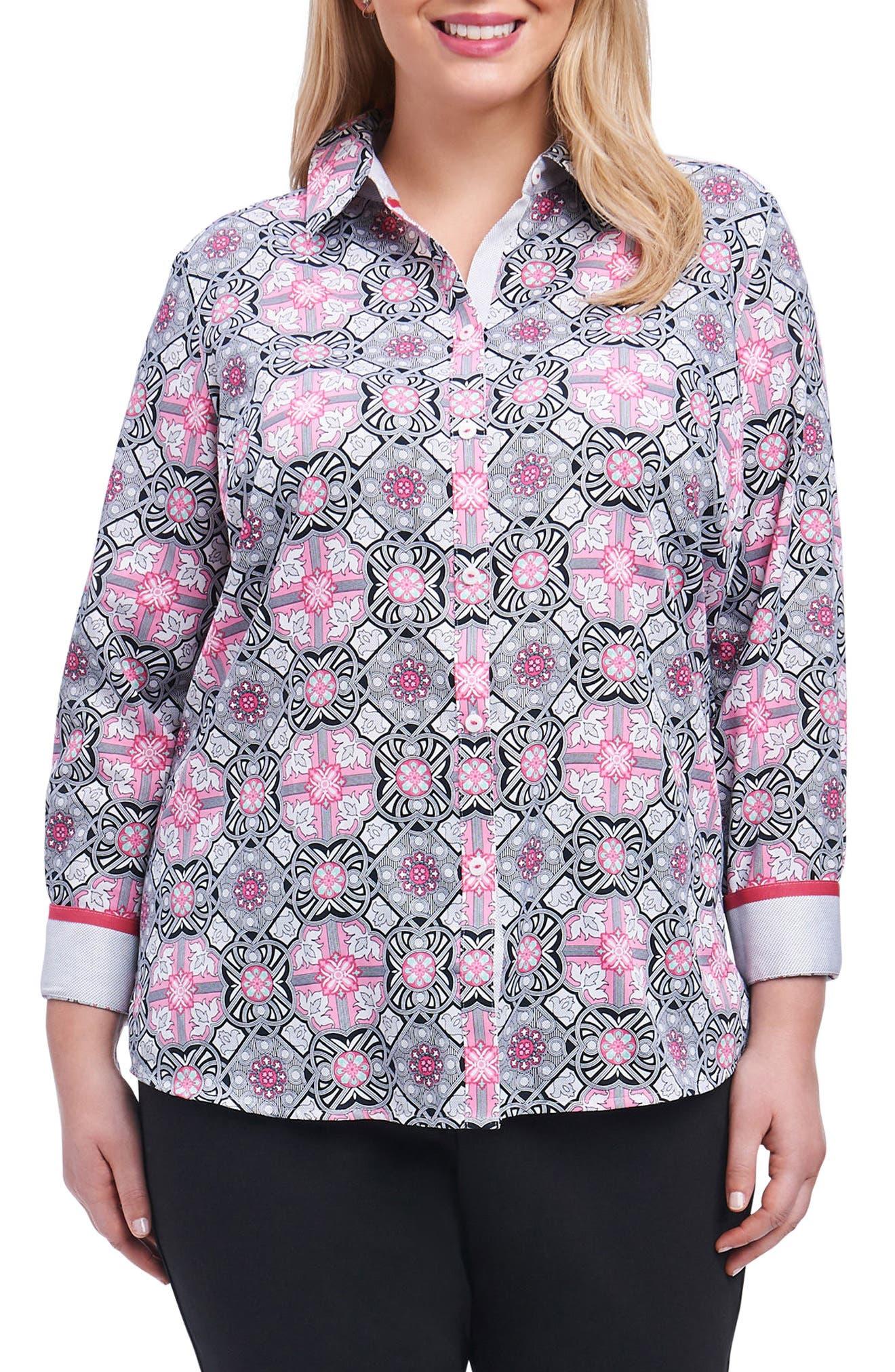 Ava Mosaic Tile Shirt,                             Main thumbnail 1, color,                             Multi