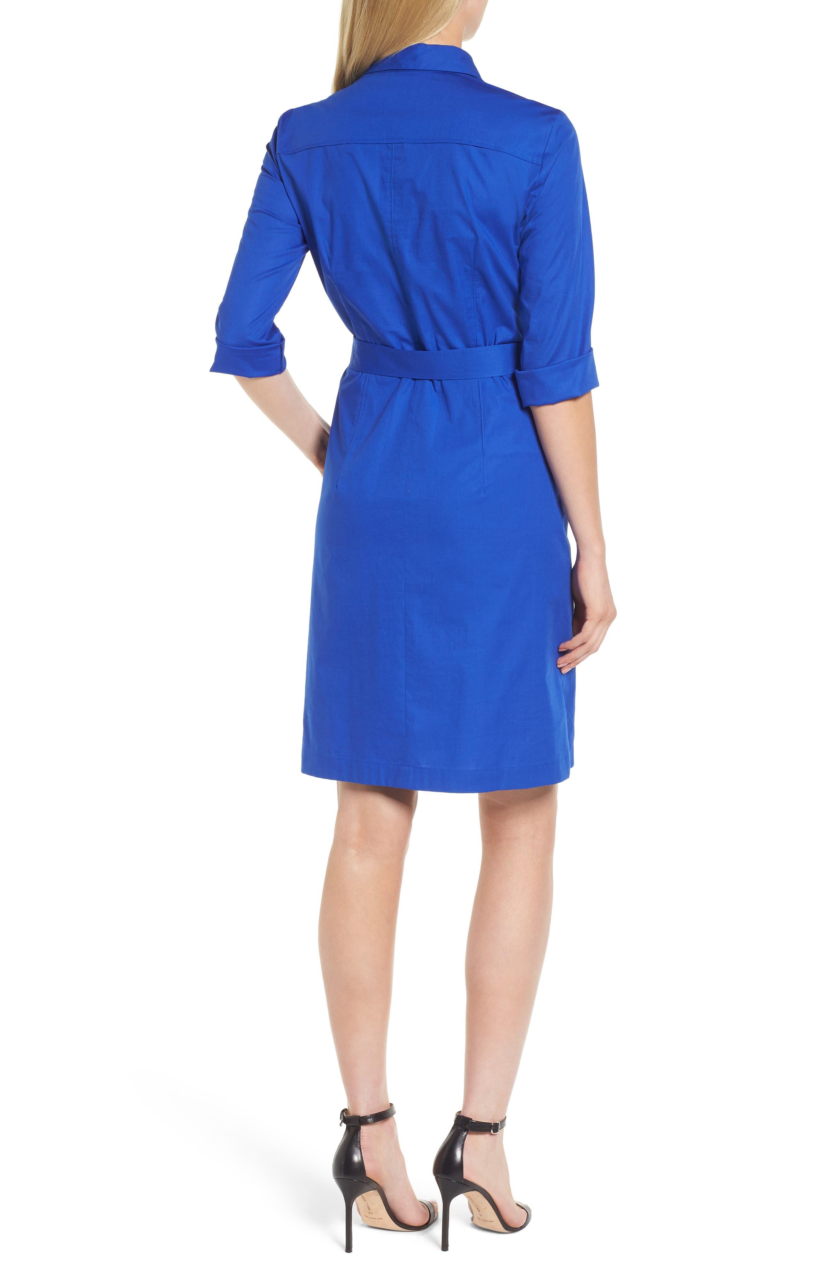 Dashir Stretch Cotton Shirtdress,                             Alternate thumbnail 2, color,                             Sailor Blue