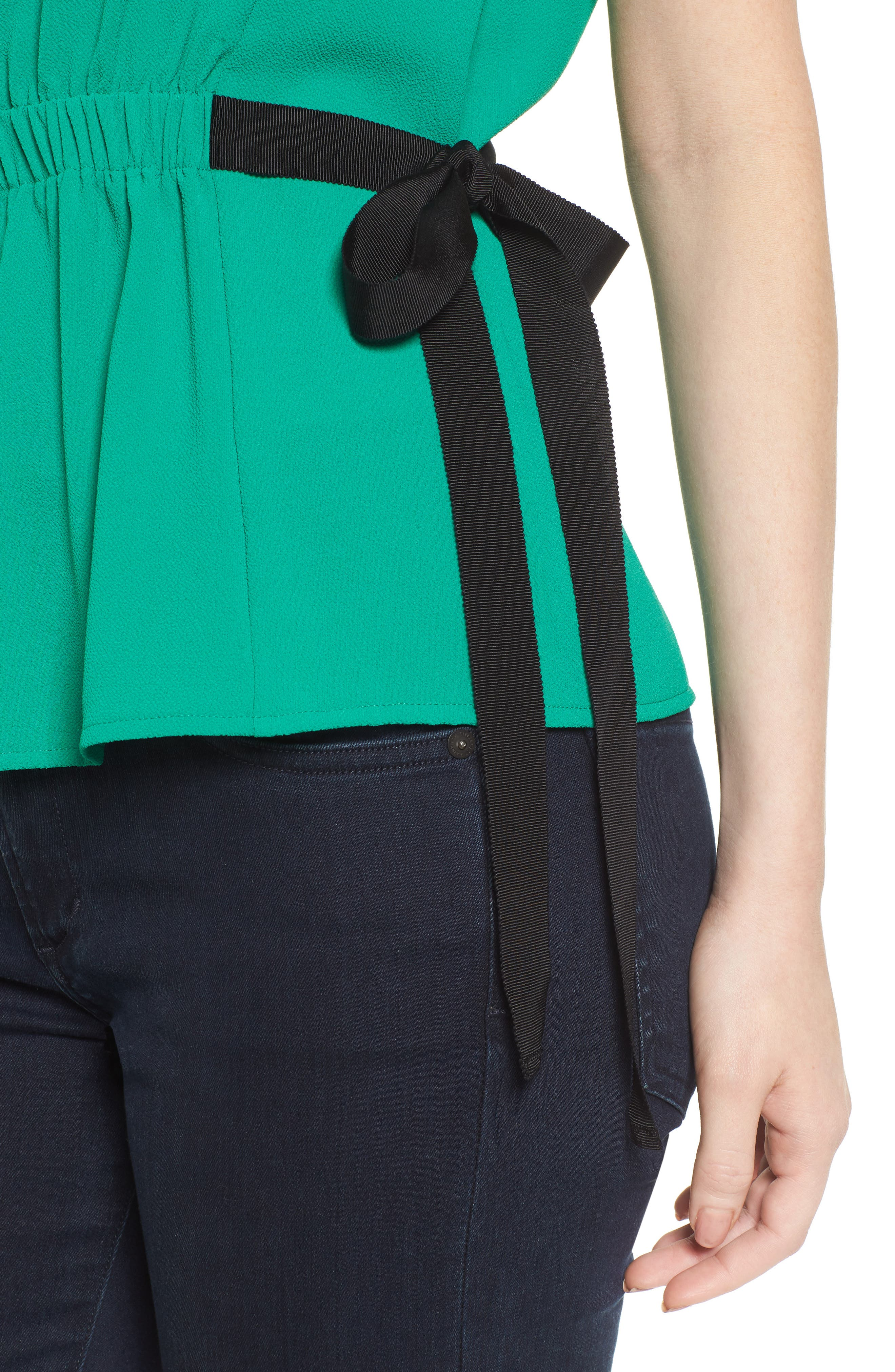 Gathered Waist Side Tie Top,                             Alternate thumbnail 4, color,                             Kelly Green With Black Tie