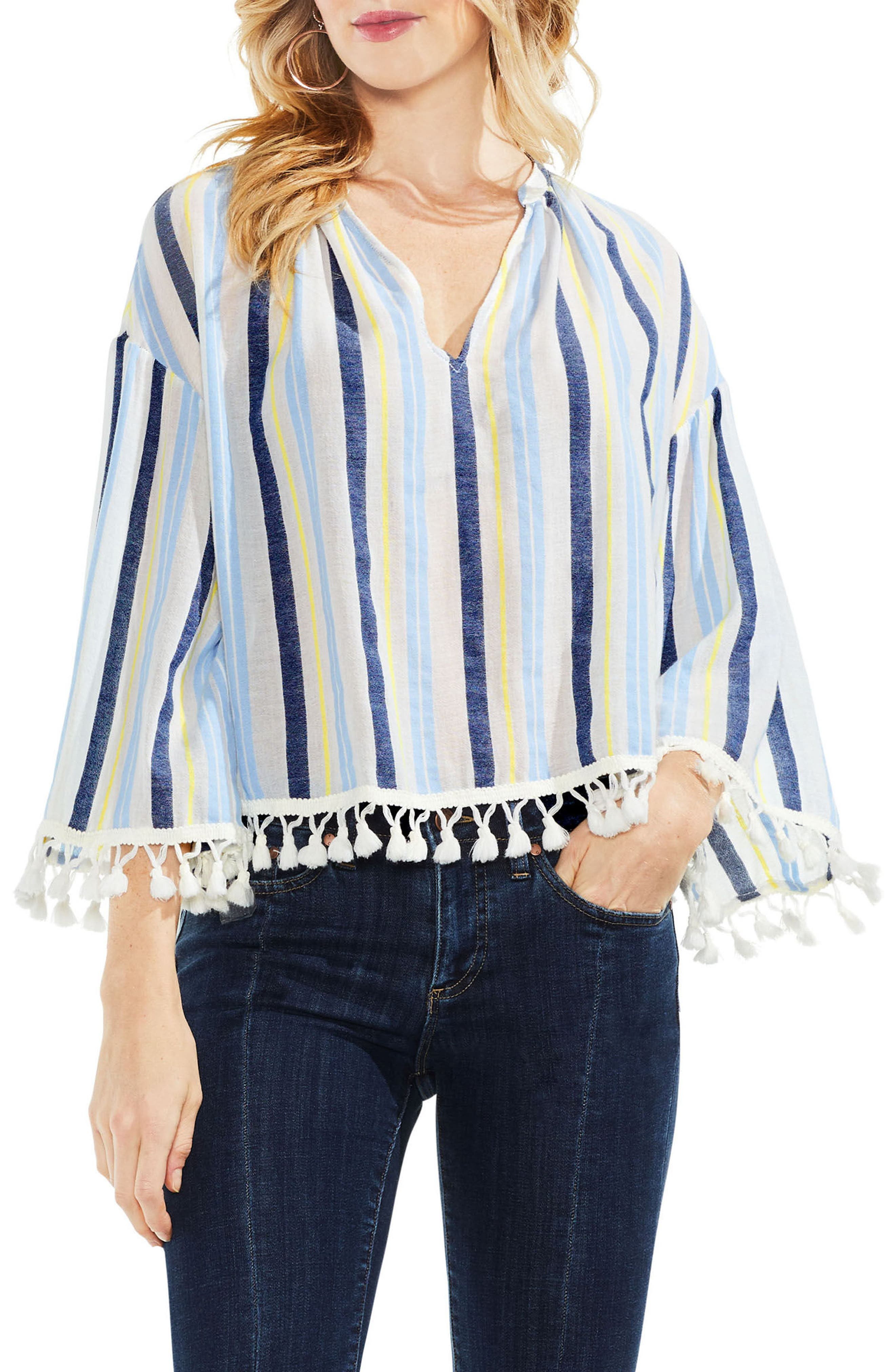 Sheer Stripe Pompom Trim Poncho,                             Main thumbnail 1, color,                             Lemon Cream