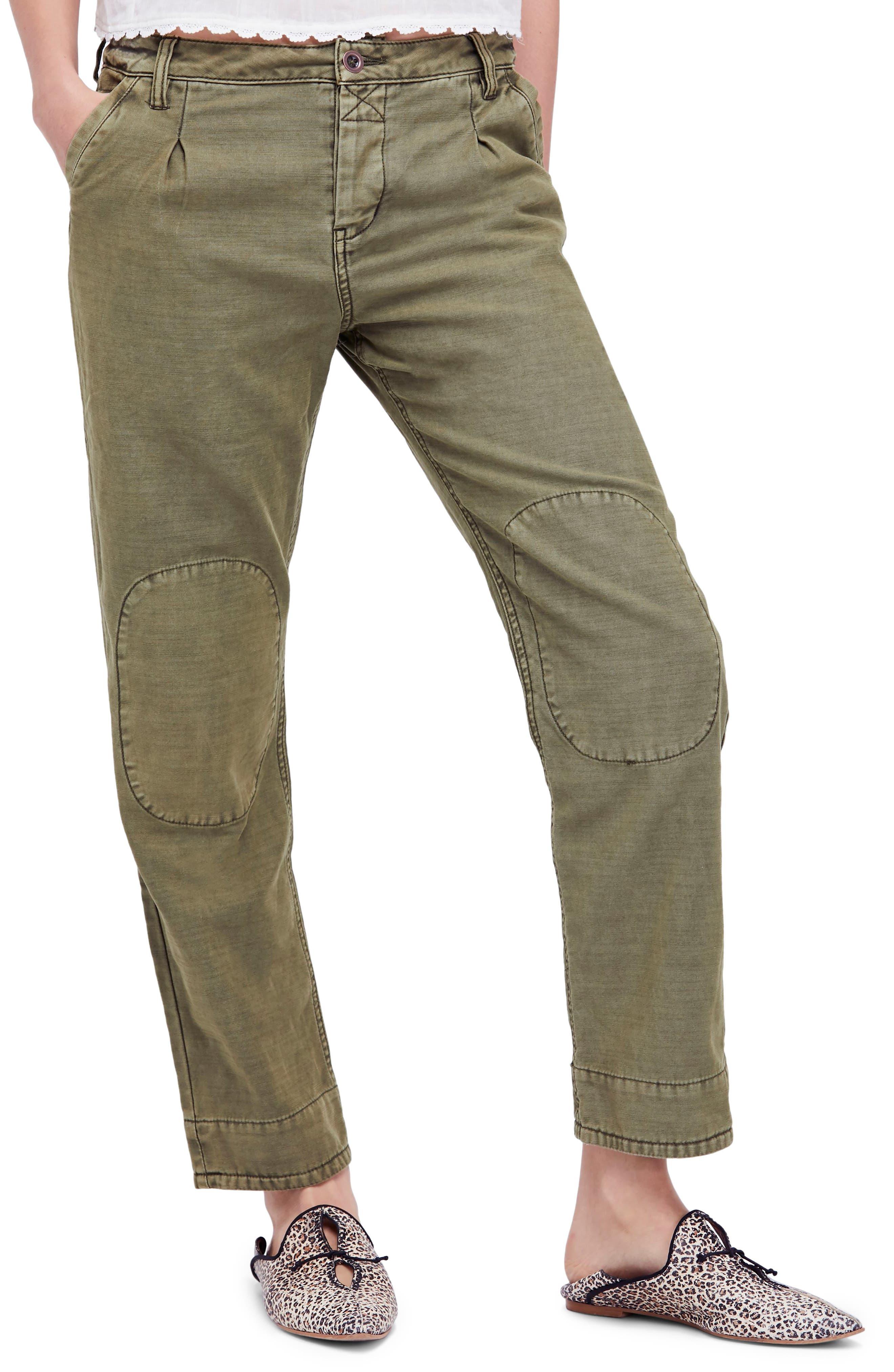 Utility Boyfriend Pants,                         Main,                         color, Moss