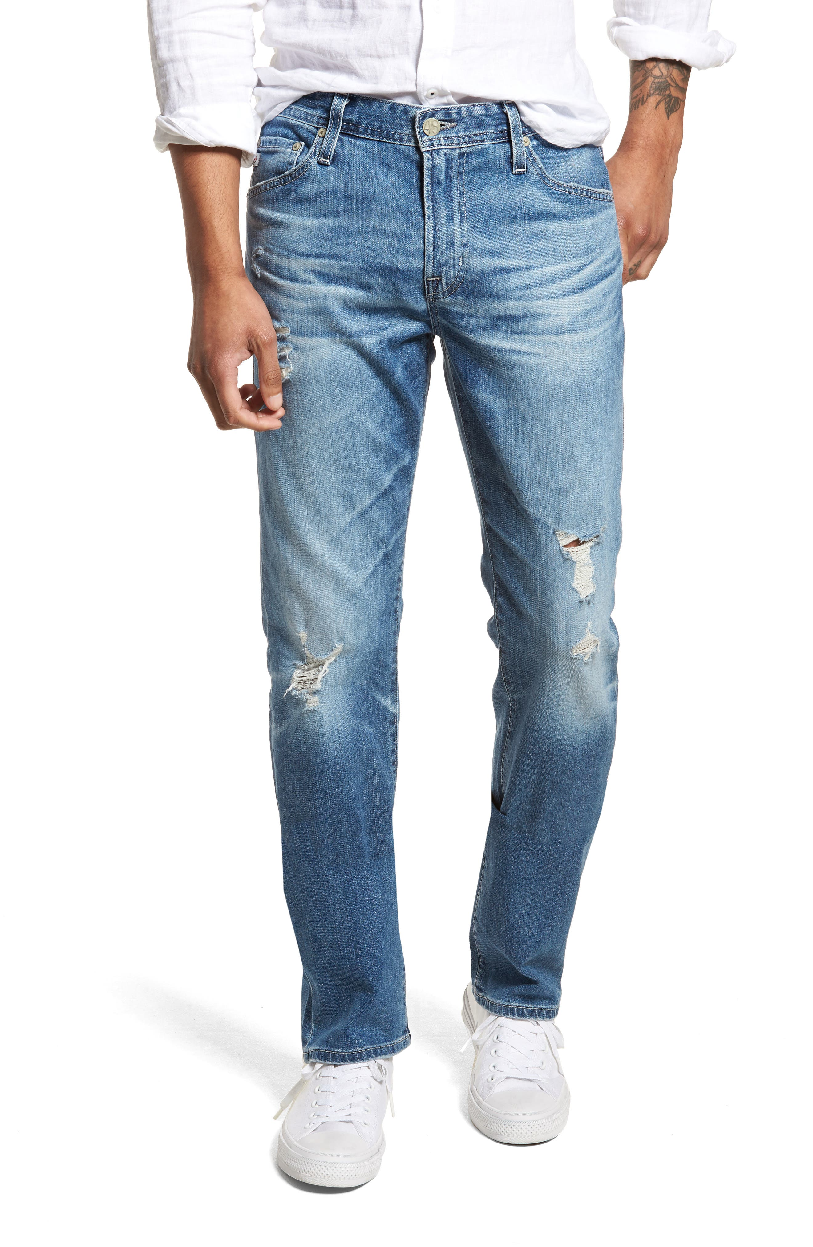 Everett Slim Straight Leg Jeans,                         Main,                         color, 15 Years Swept Up
