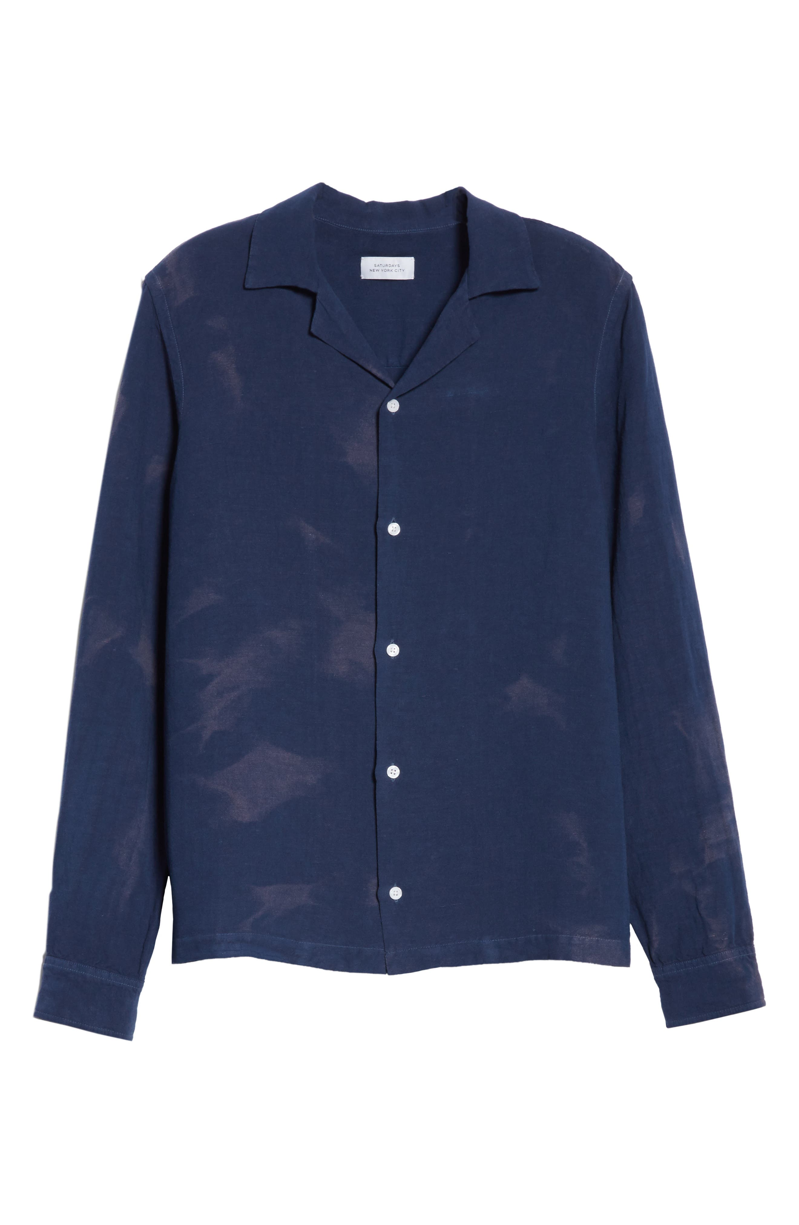 Canty Long Sleeve Camp Shirt,                             Alternate thumbnail 5, color,                             Midnight