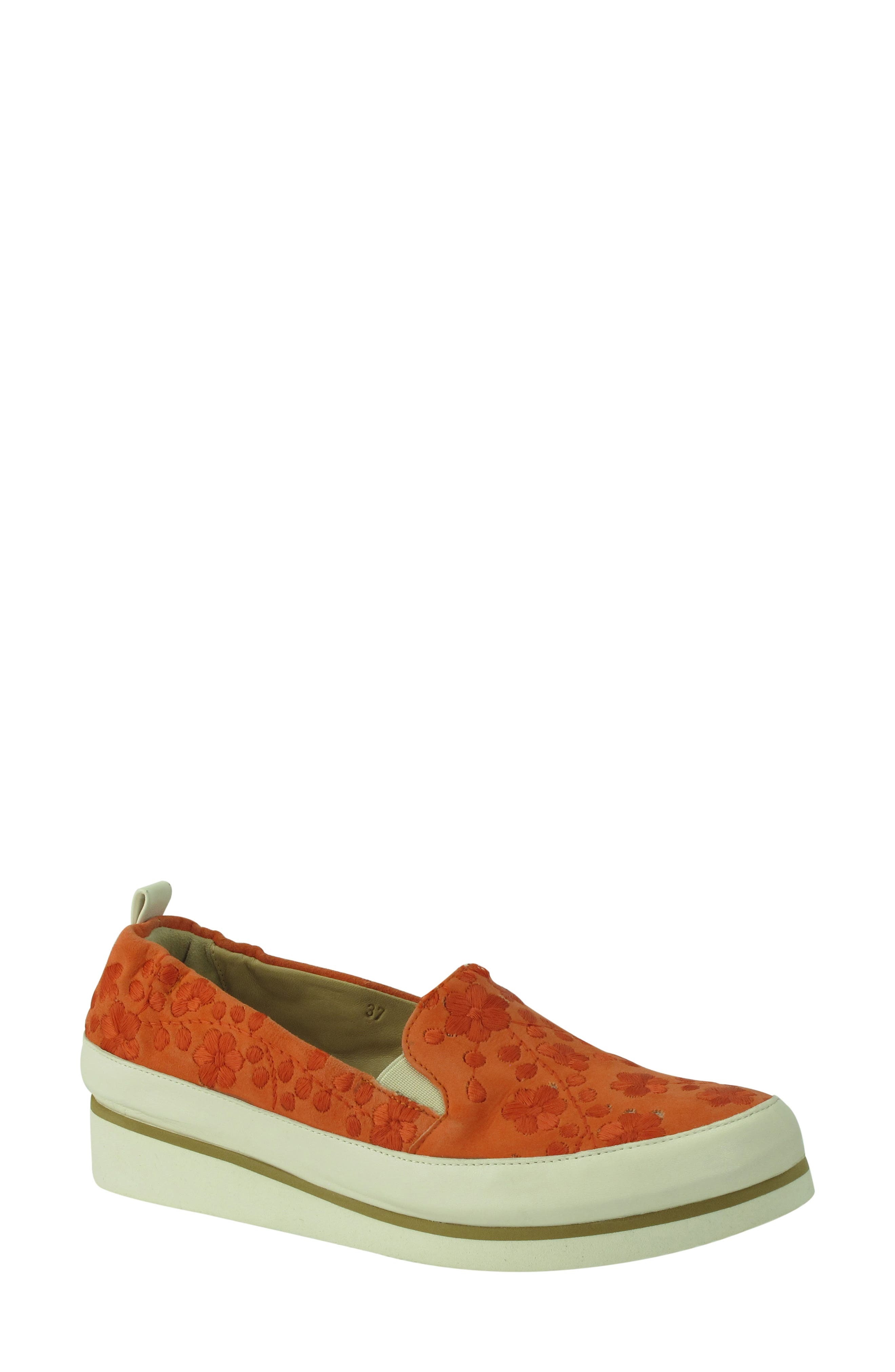 Nell Slip-On Sneaker,                             Main thumbnail 1, color,                             Tangerine Suede
