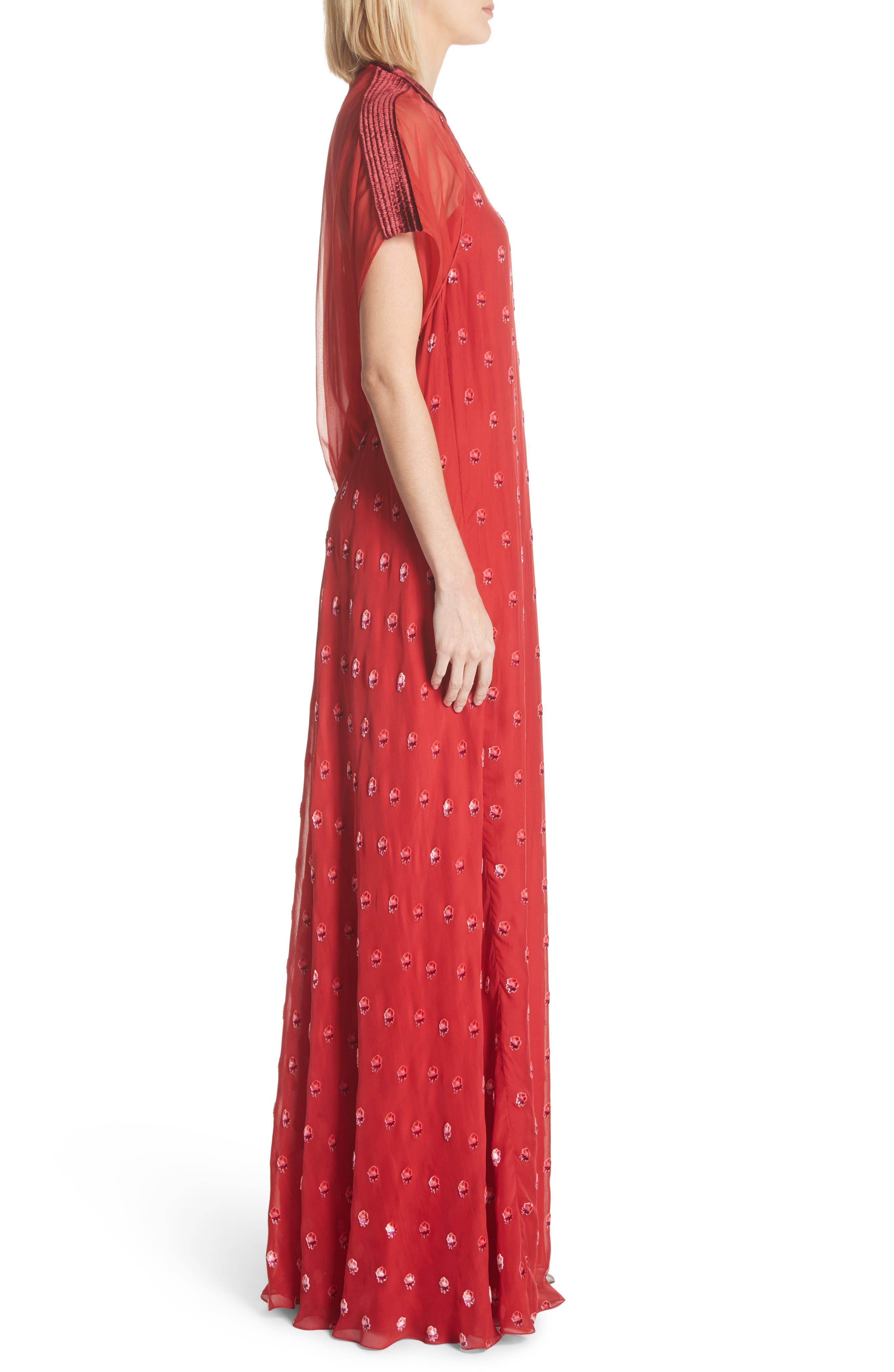 Devoré Rosebud Silk Gown,                             Alternate thumbnail 3, color,                             Red