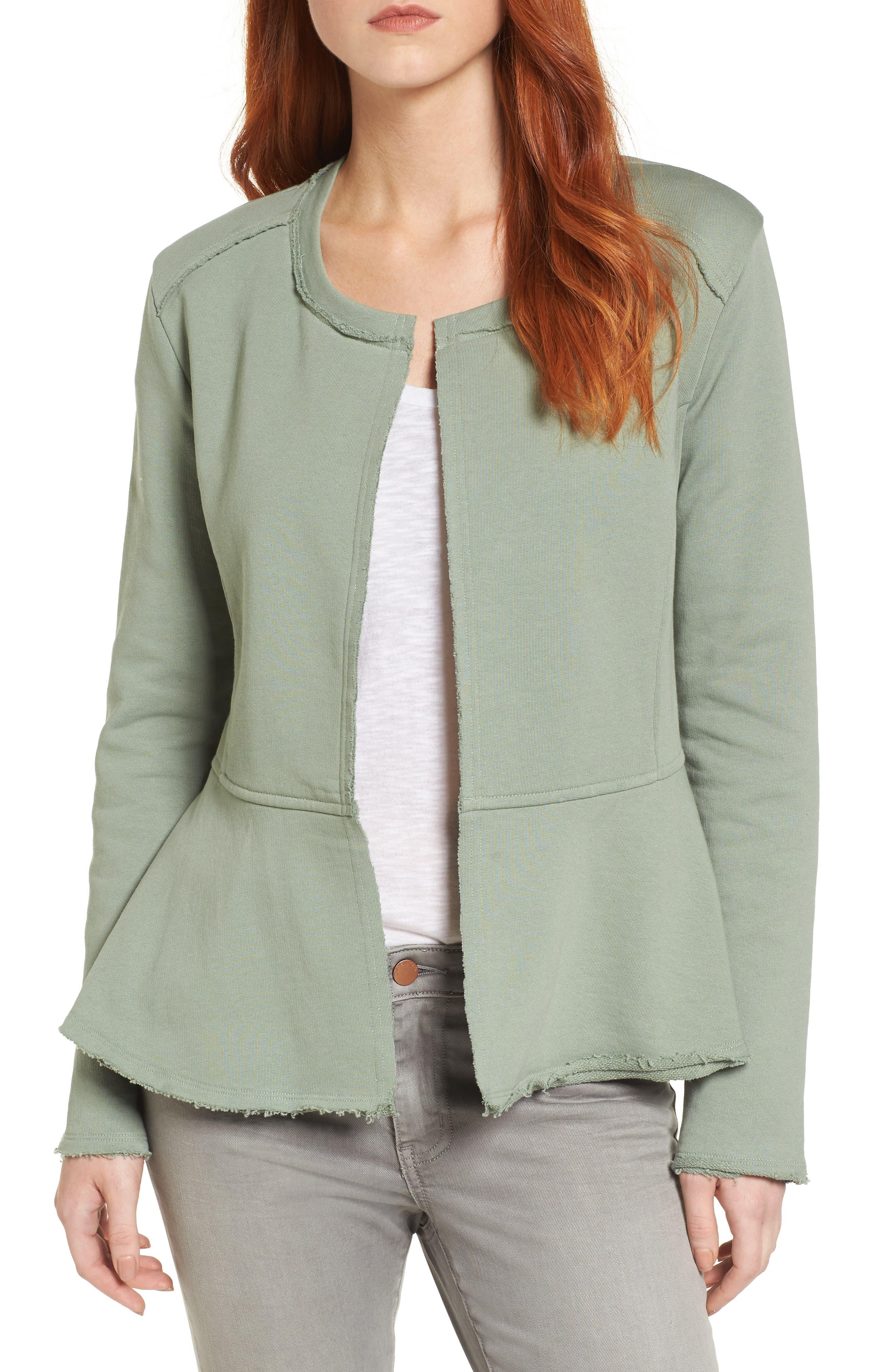 Caslon® Knit Peplum Jacket (Regular & Petite)