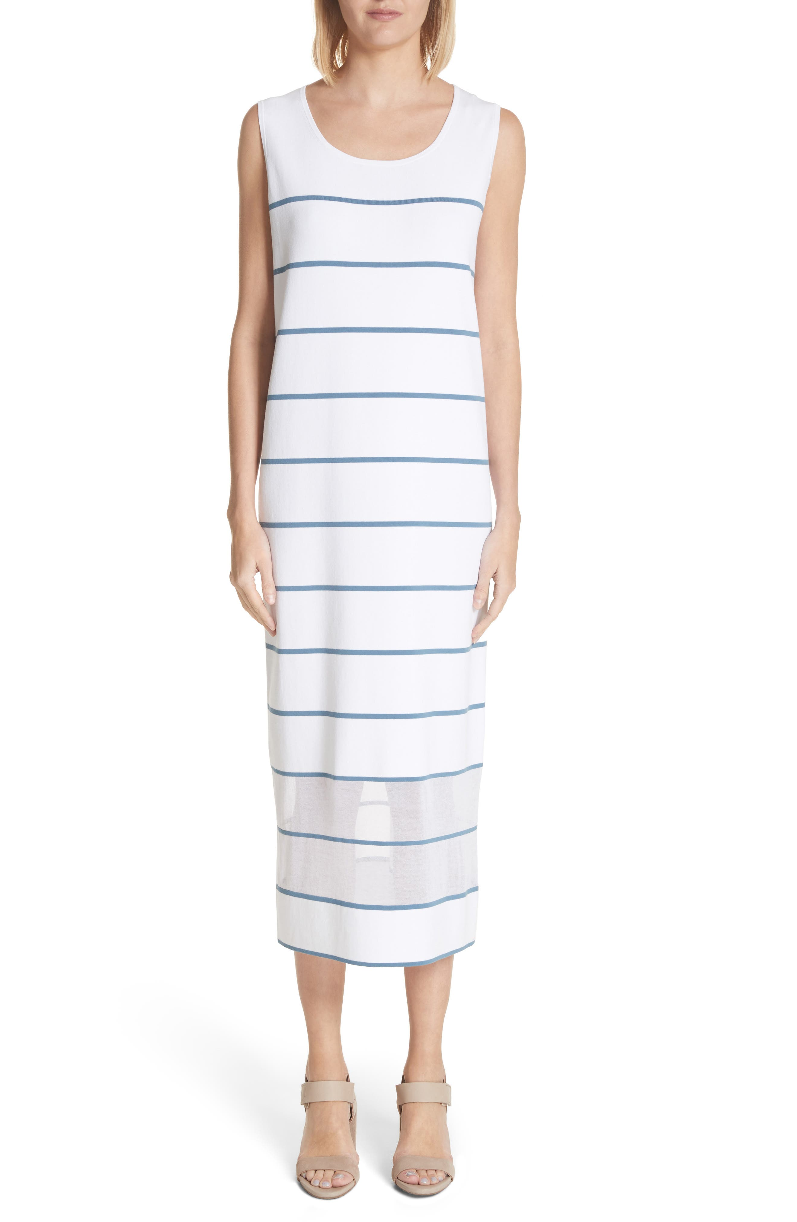 Stripe Sheer Hem Tank Dress,                         Main,                         color, Placid Blue Multi