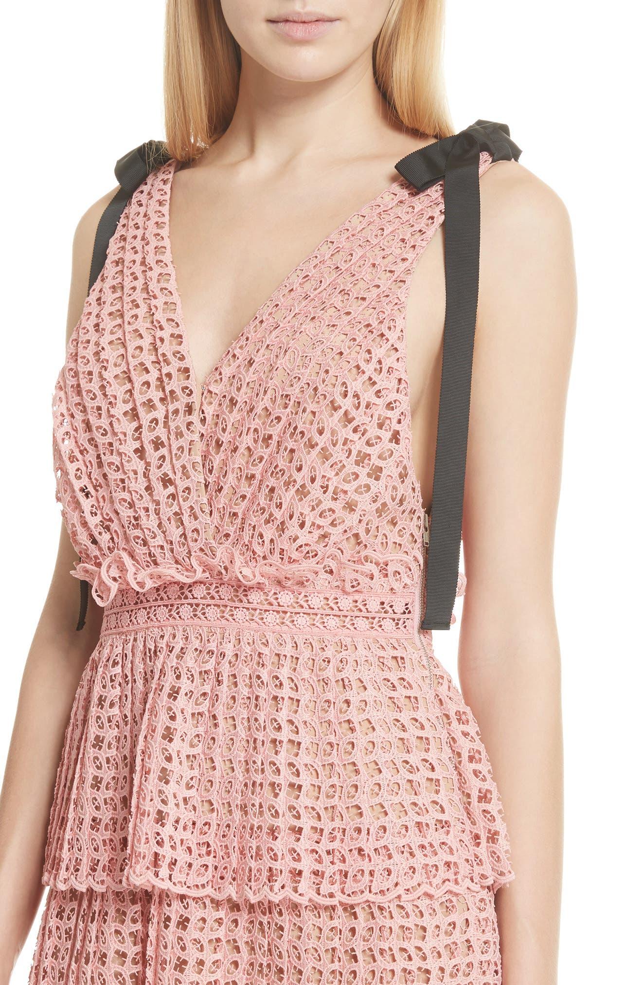 Tie Strap Cutwork Organza Dress,                             Alternate thumbnail 4, color,                             Pink