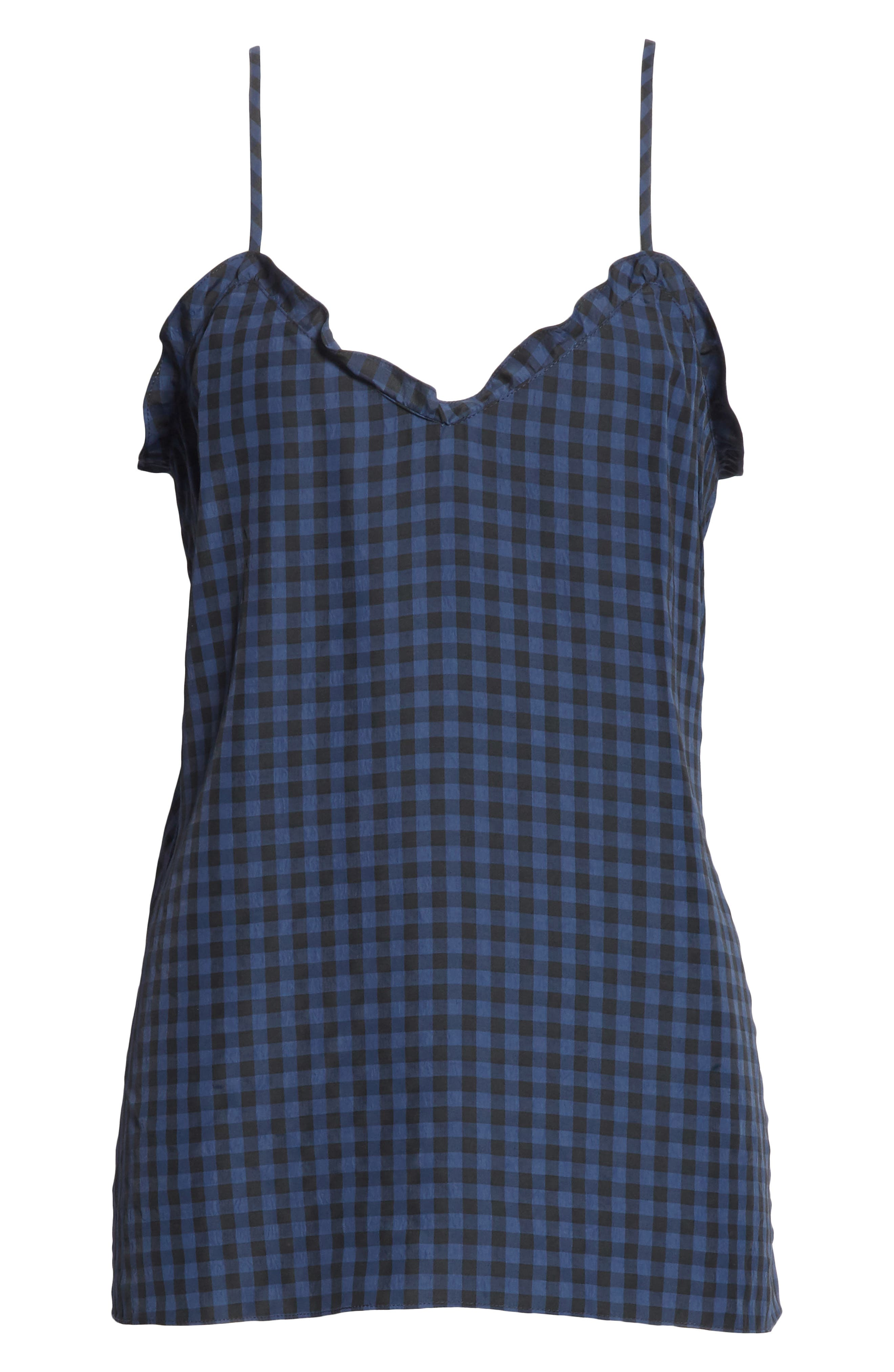 Ruffled Gingham Camisole,                             Alternate thumbnail 6, color,                             Navy Multi
