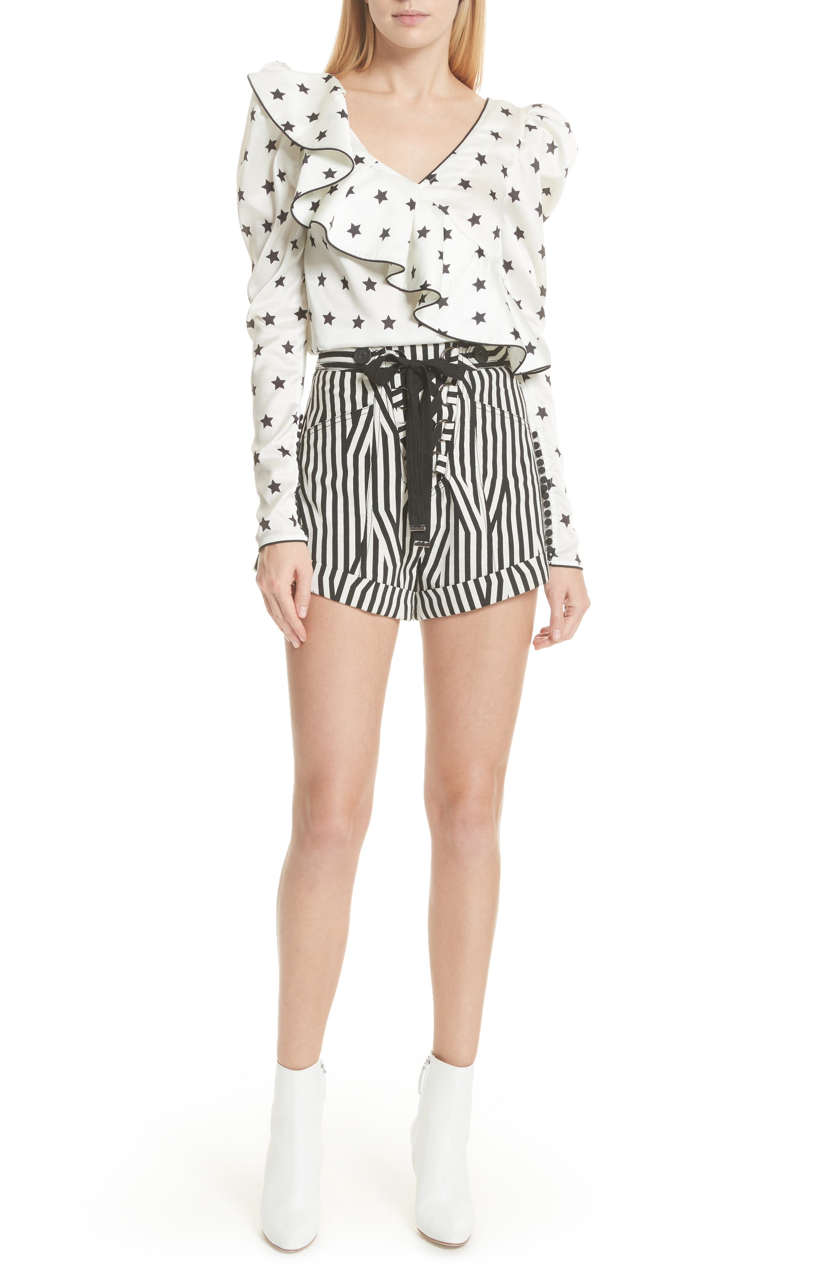 Abstract Stripe Lace-Up Shorts,                             Alternate thumbnail 7, color,                             Black/ White