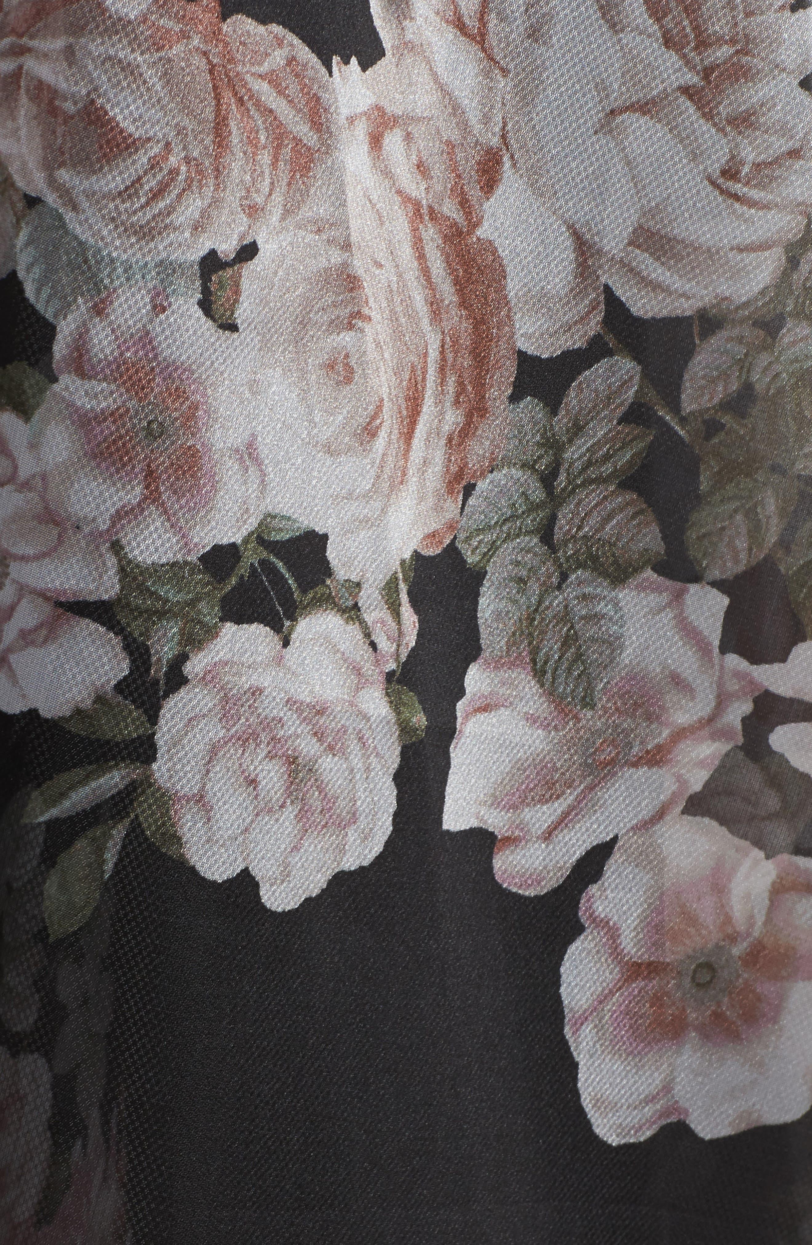 Knit & Print Organza Ballgown,                             Alternate thumbnail 6, color,                             Black/Blush
