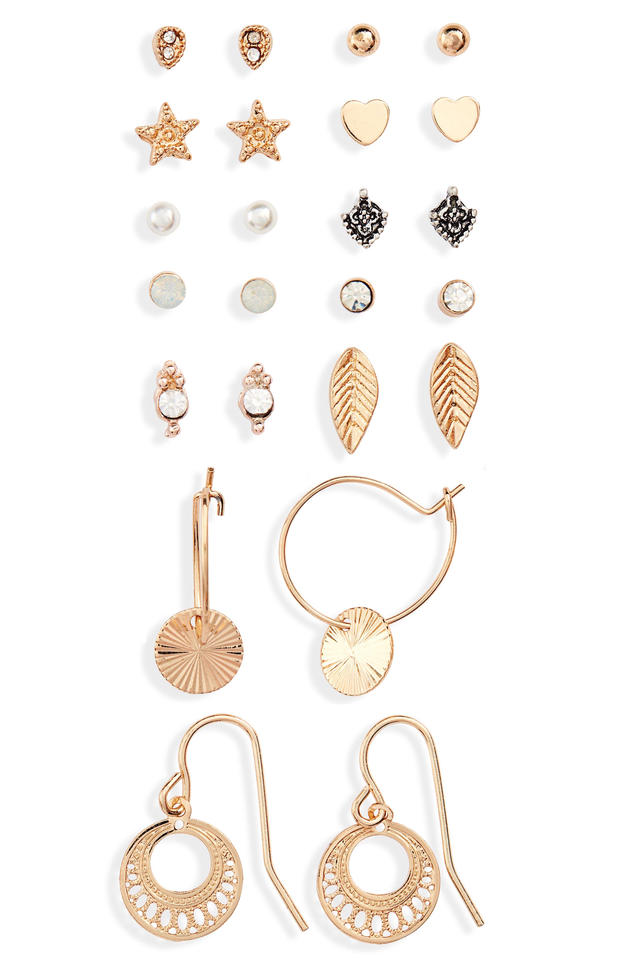 Topshop Set of 12 Fine Earrings