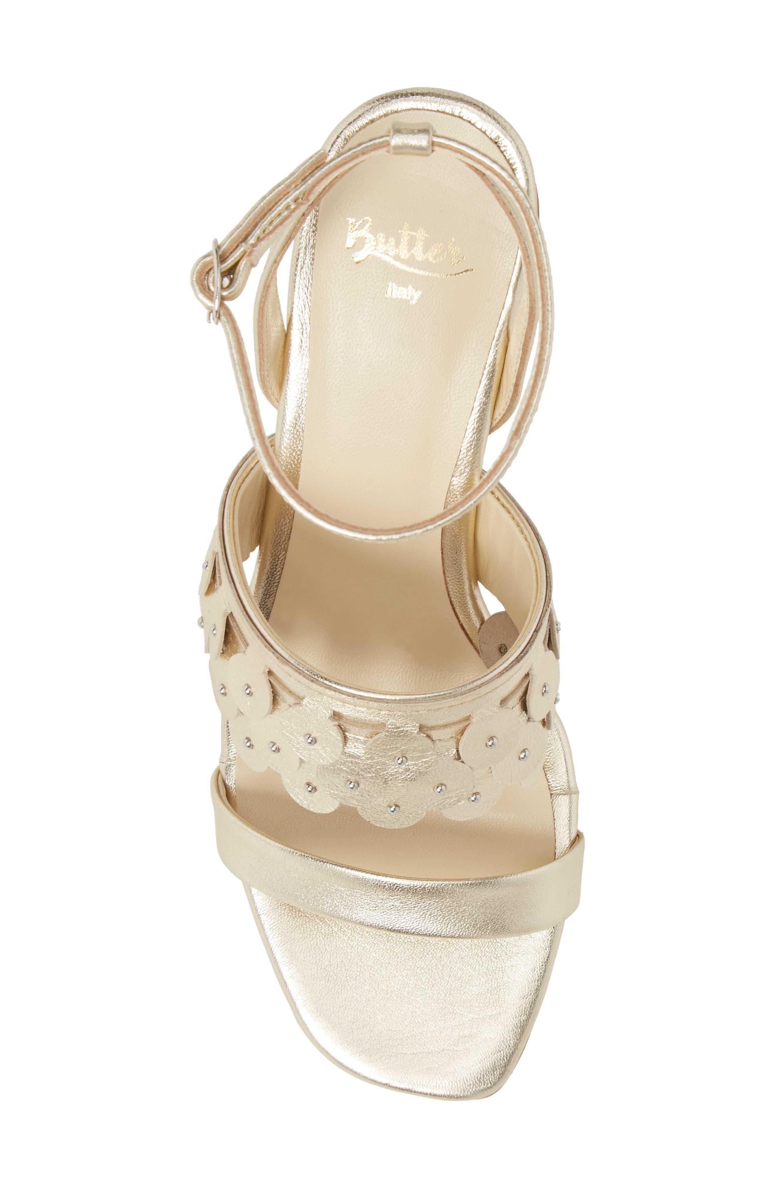 Butter Finley Studded Ankle Strap Sandal,                             Alternate thumbnail 5, color,                             Platino Napa