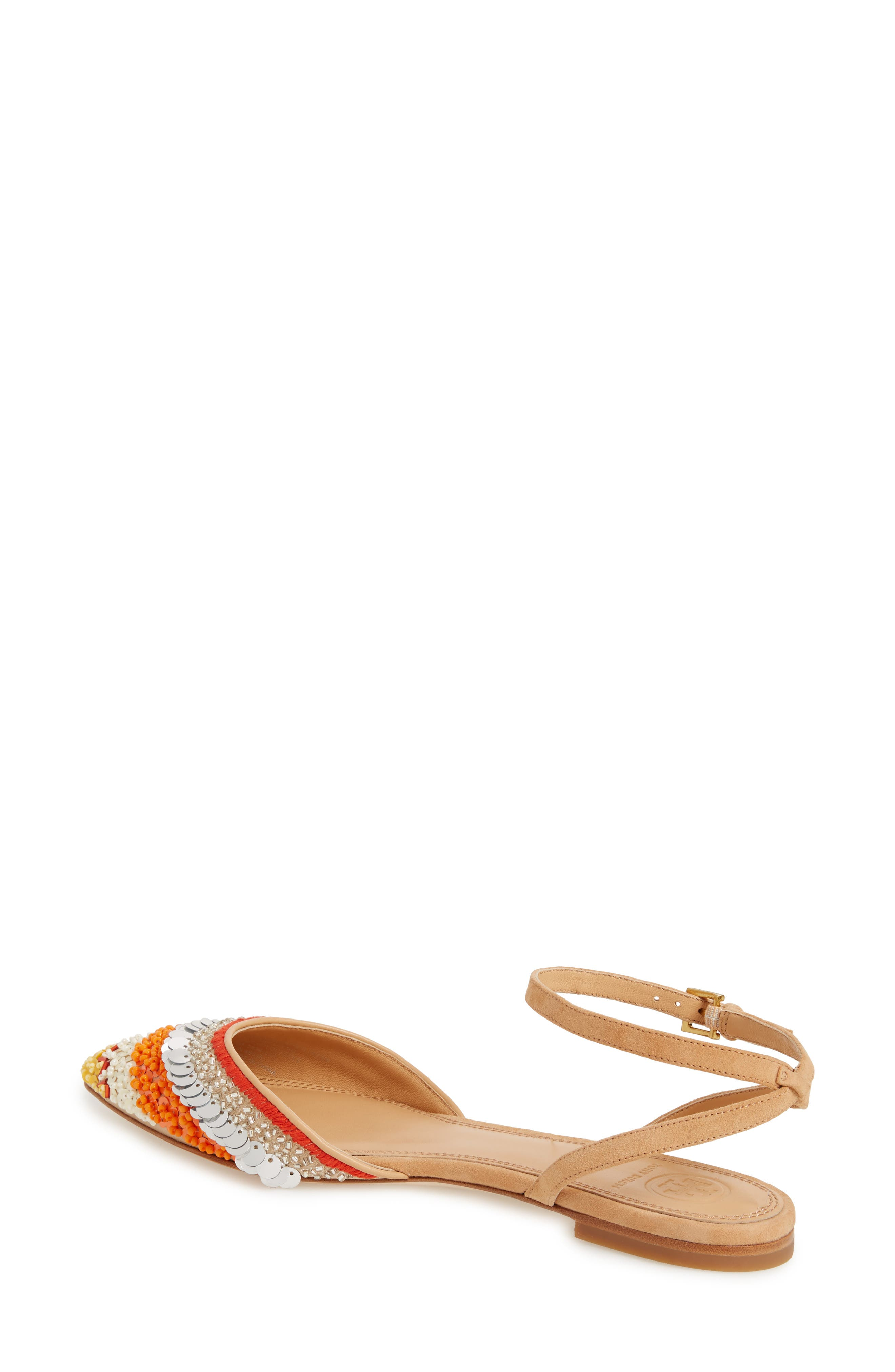 Isle Embellished Ankle Strap Flat,                             Alternate thumbnail 2, color,                             Multi Color/ Natural