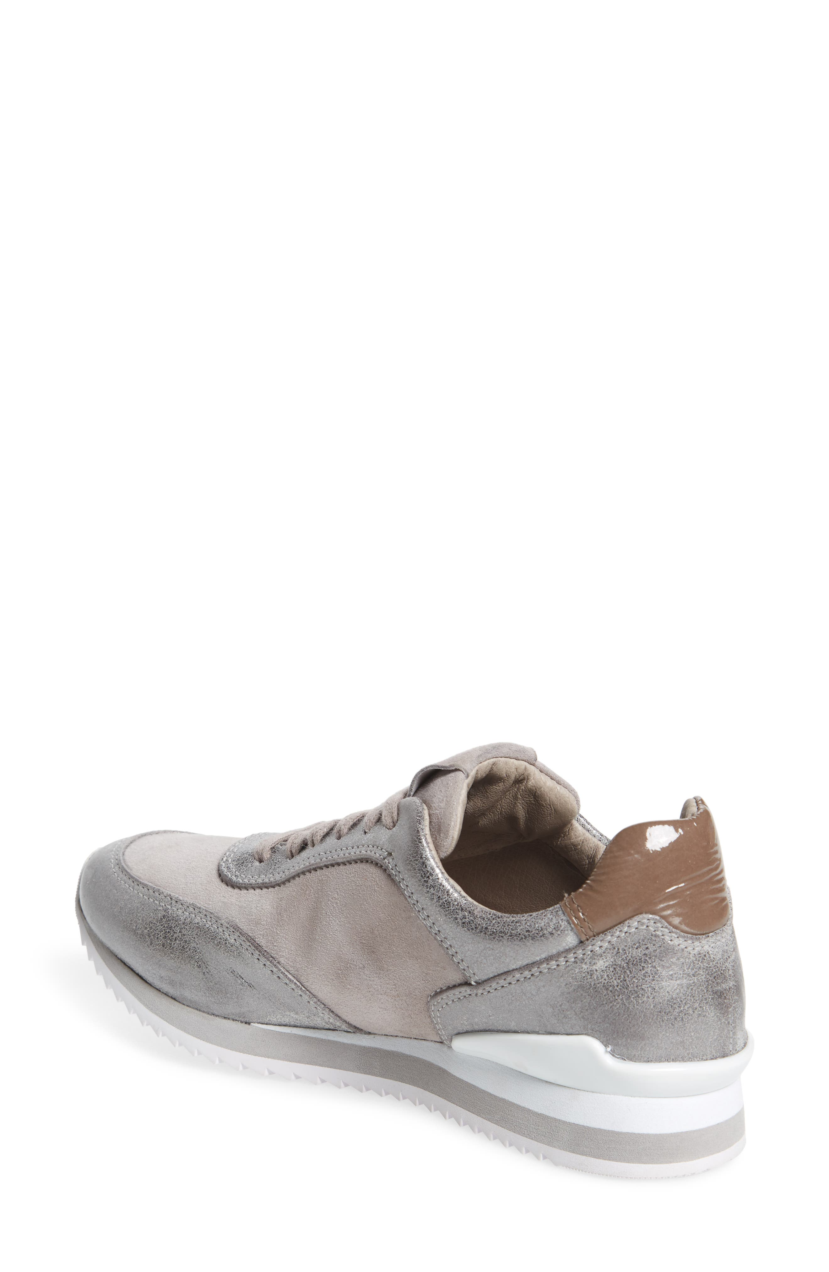 Jules Sneaker,                             Alternate thumbnail 2, color,                             Pewter Leather/ Suede
