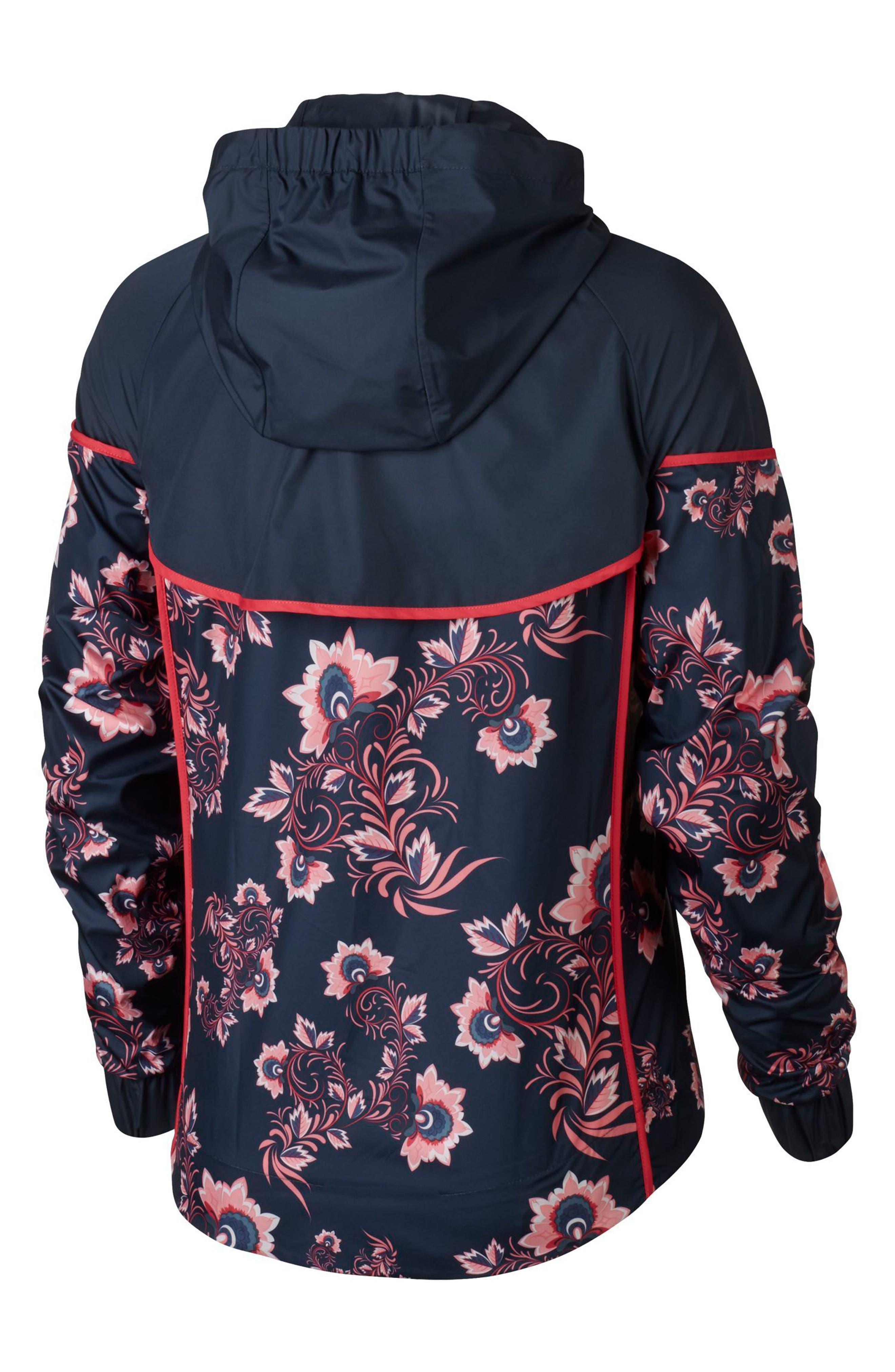 Sportswear Floral Print Track Jacket,                             Alternate thumbnail 7, color,                             Thunder Blue