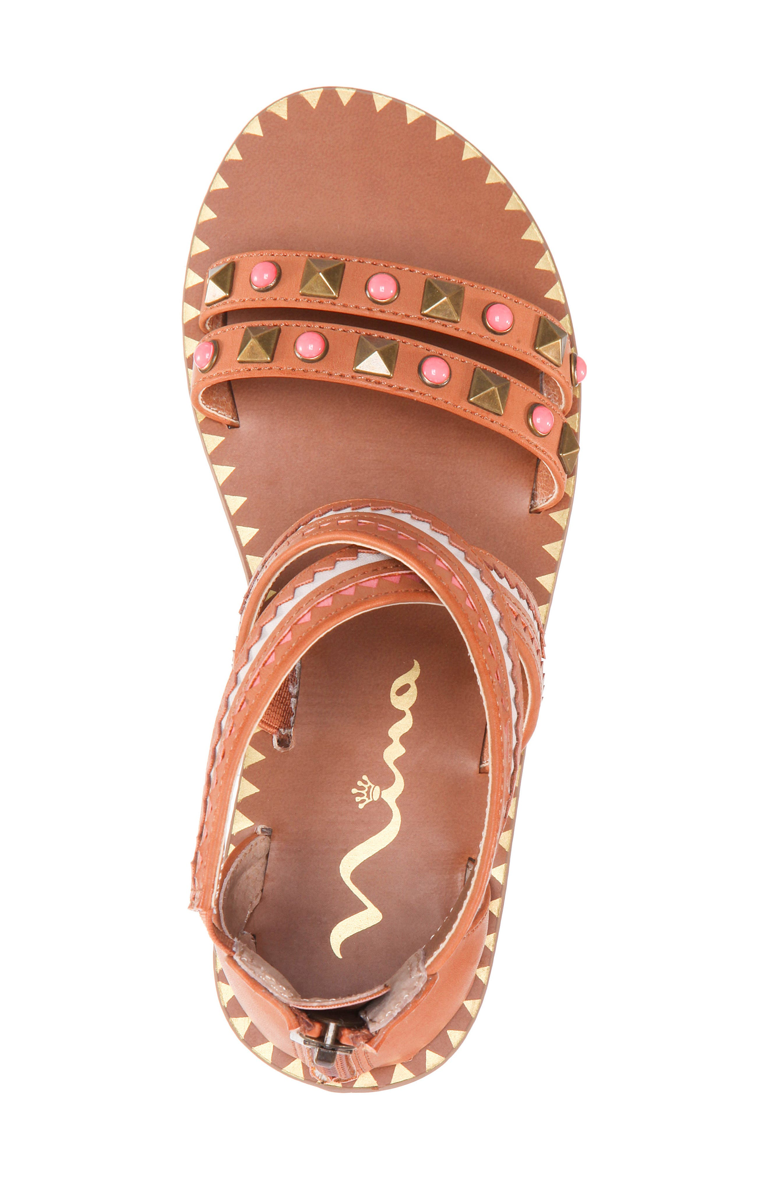 Phelisha Embellished Gladiator Sandal,                             Alternate thumbnail 5, color,                             Tan Burnished