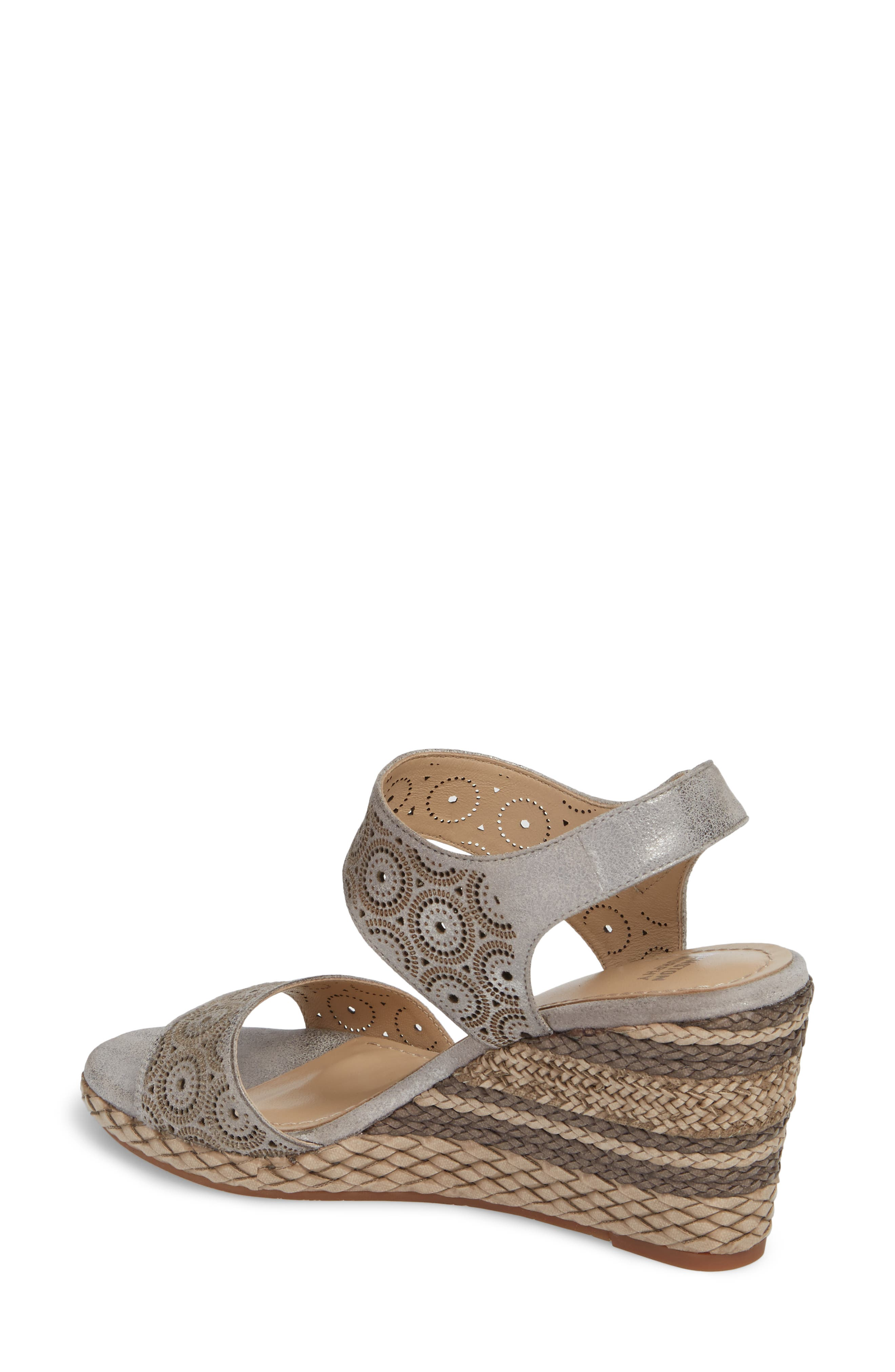 Georgiana Wedge Sandal,                             Alternate thumbnail 2, color,                             Pewter Leather
