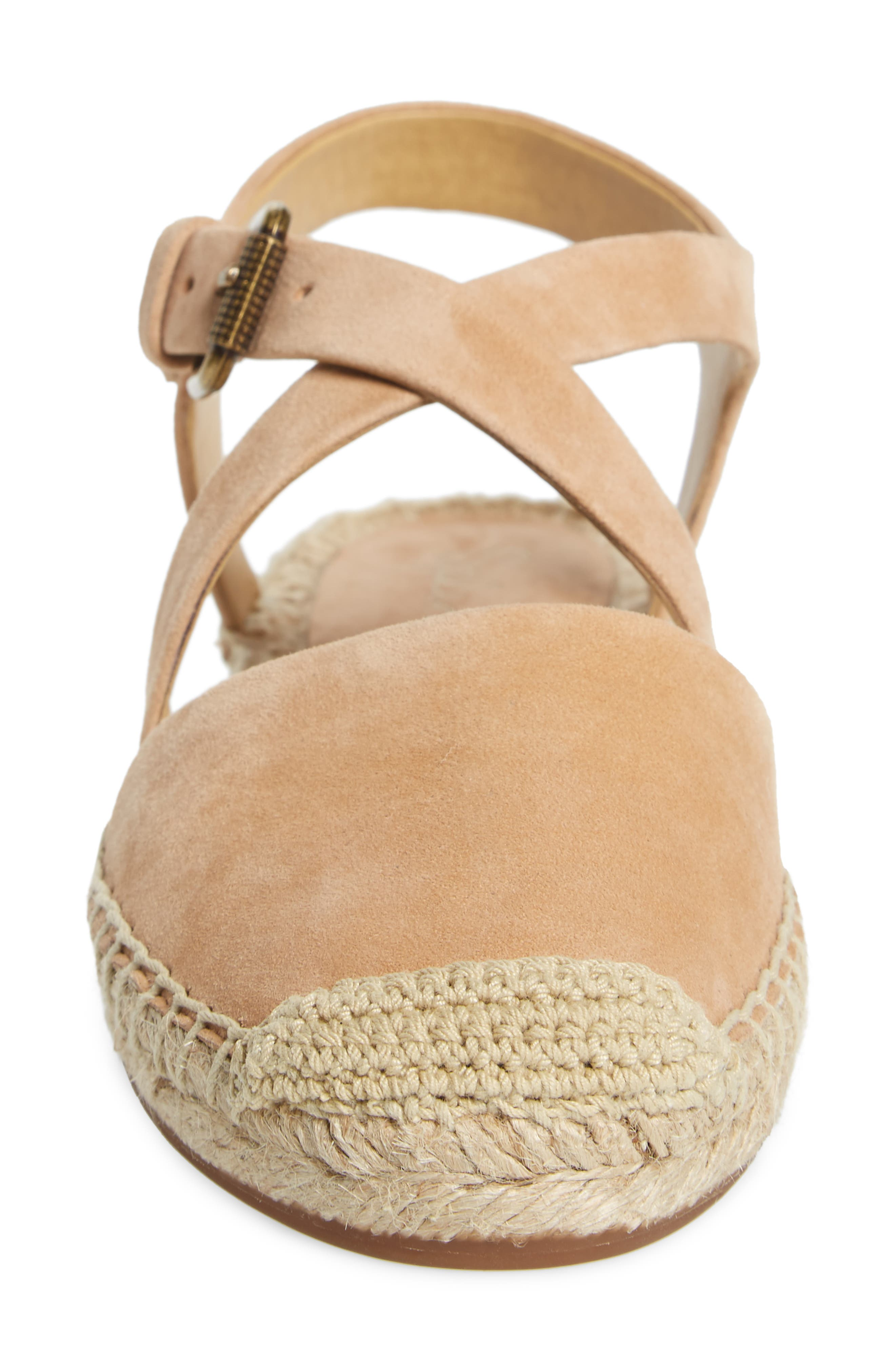 Foley Espadrille Flat,                             Alternate thumbnail 4, color,                             Nude Suede