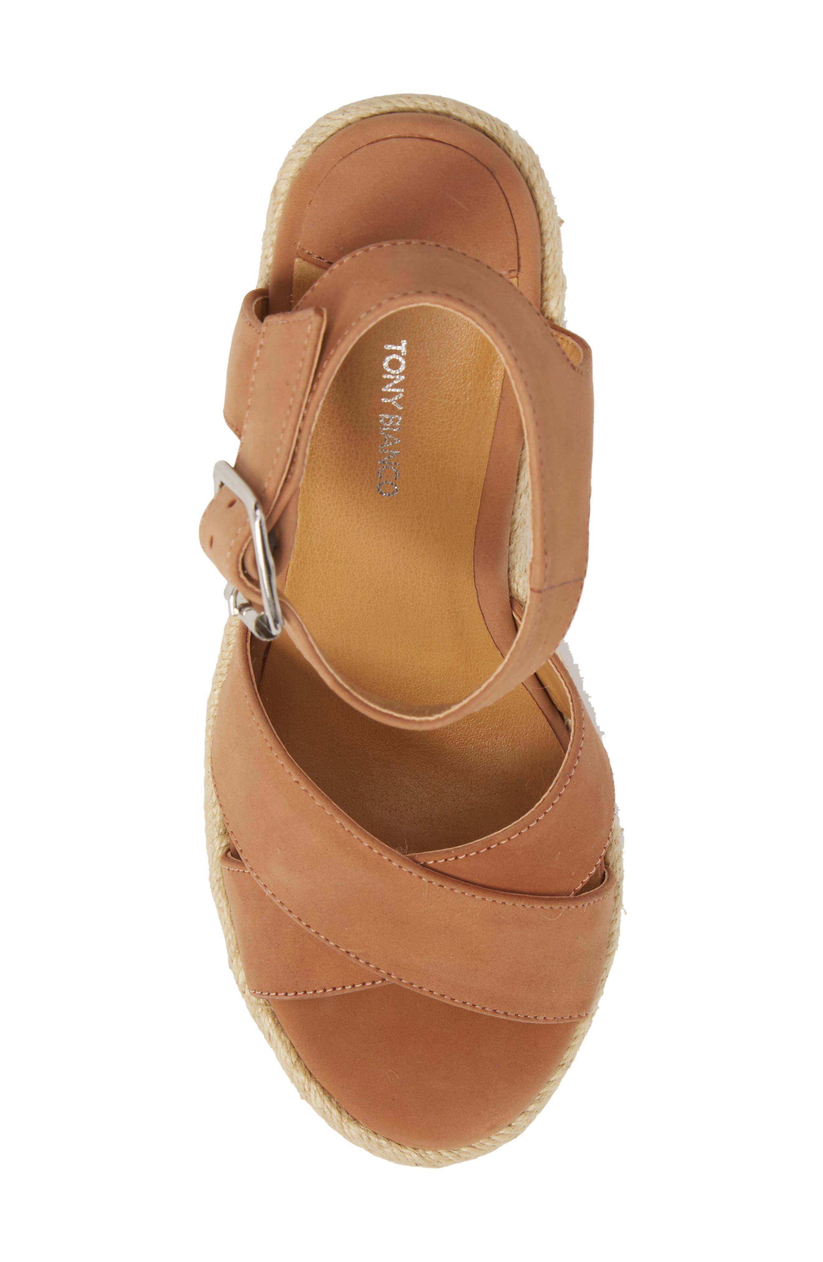 Boston Espadrille Wedge Sandal,                             Alternate thumbnail 5, color,                             Caramel Phoenix Leather