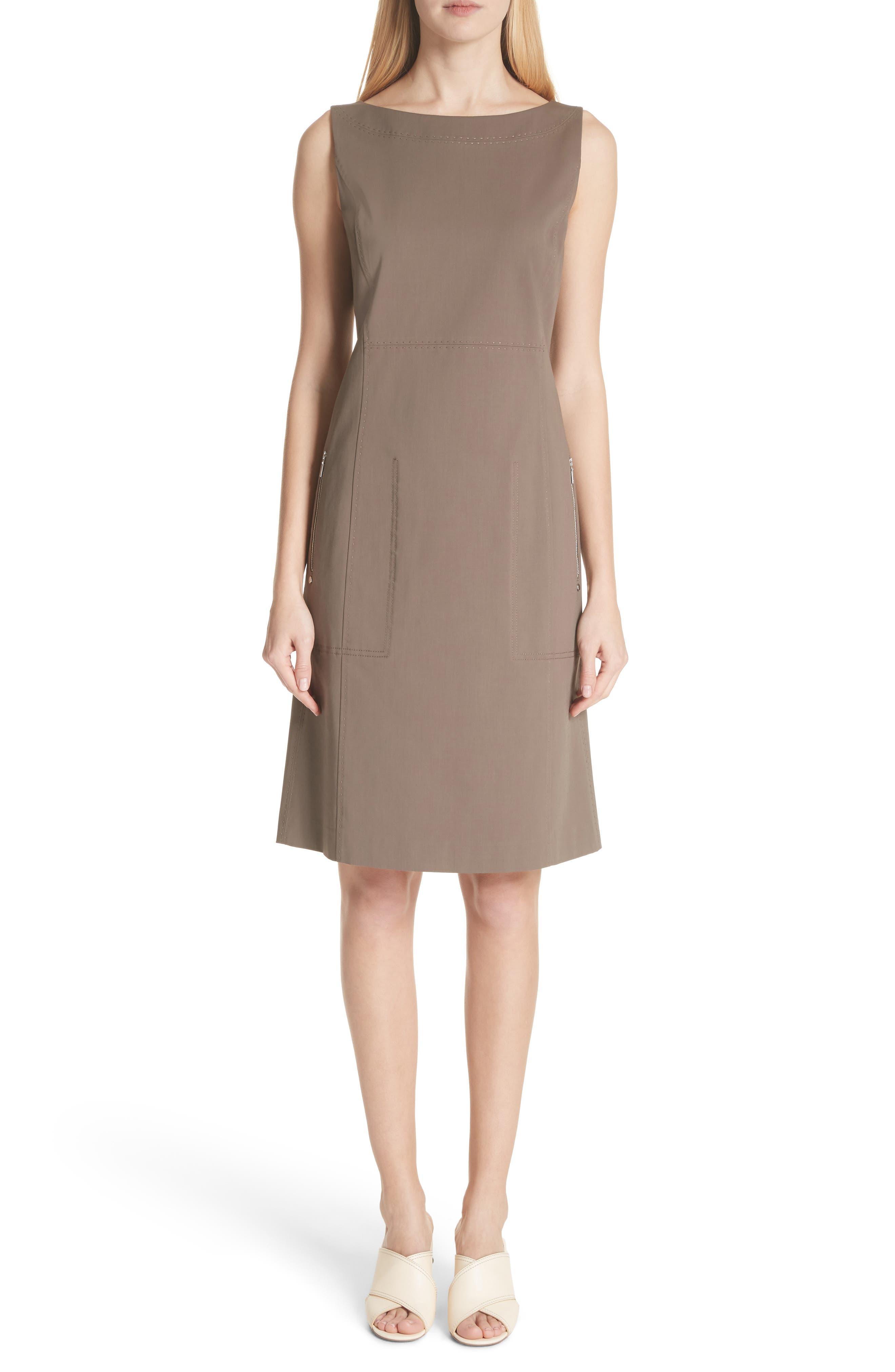 Paxton Sleeveless Sheath Dress,                             Main thumbnail 1, color,                             Nougat