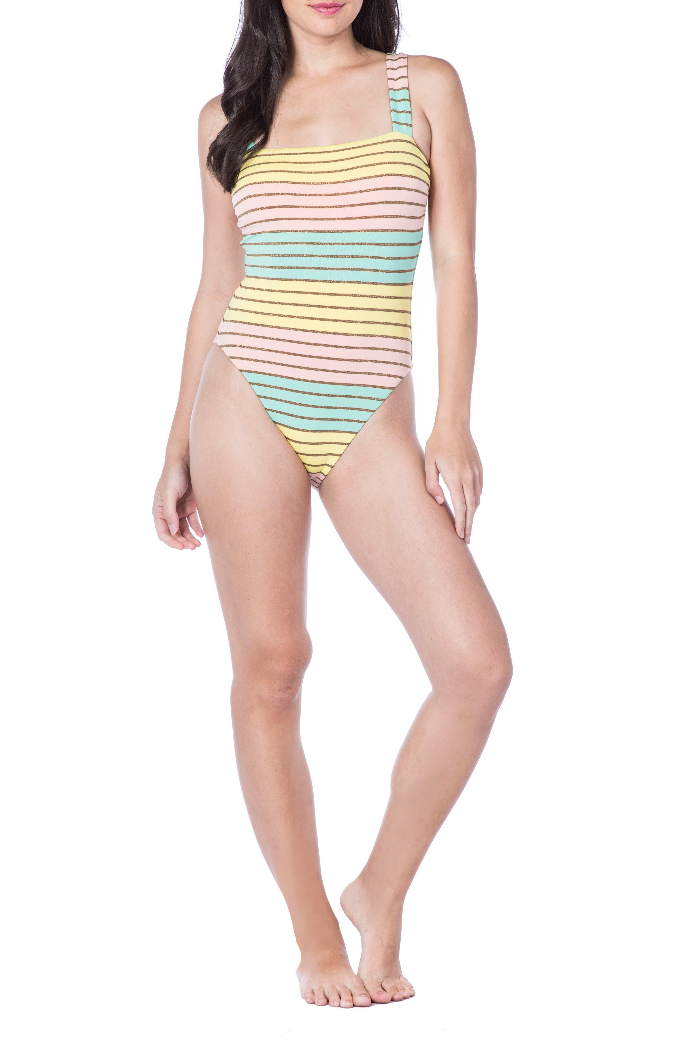 Metallic Stripe One-Piece Swimsuit,                         Main,                         color, Multi-Colored
