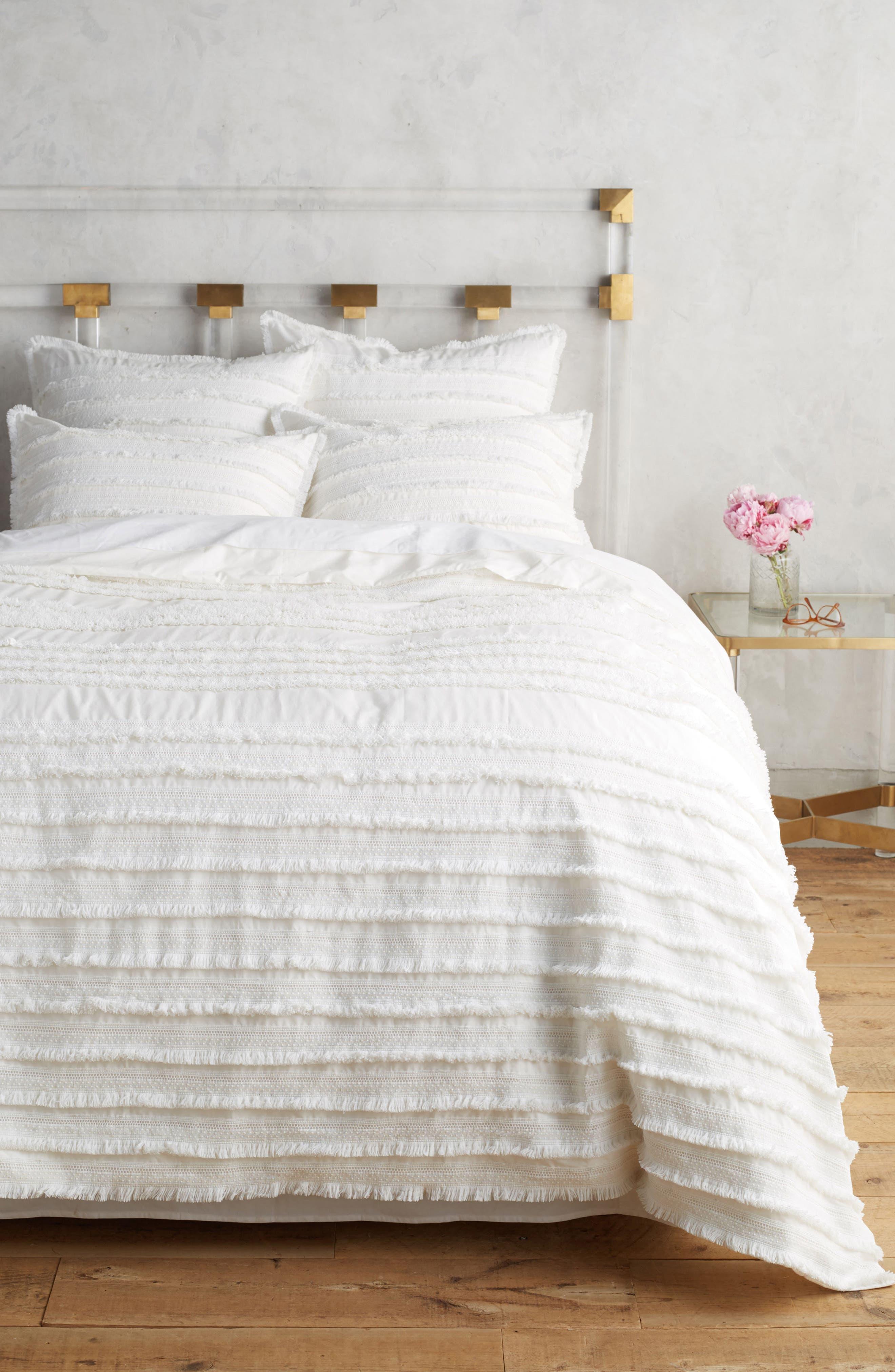 Fringe Duvet Cover,                         Main,                         color, White