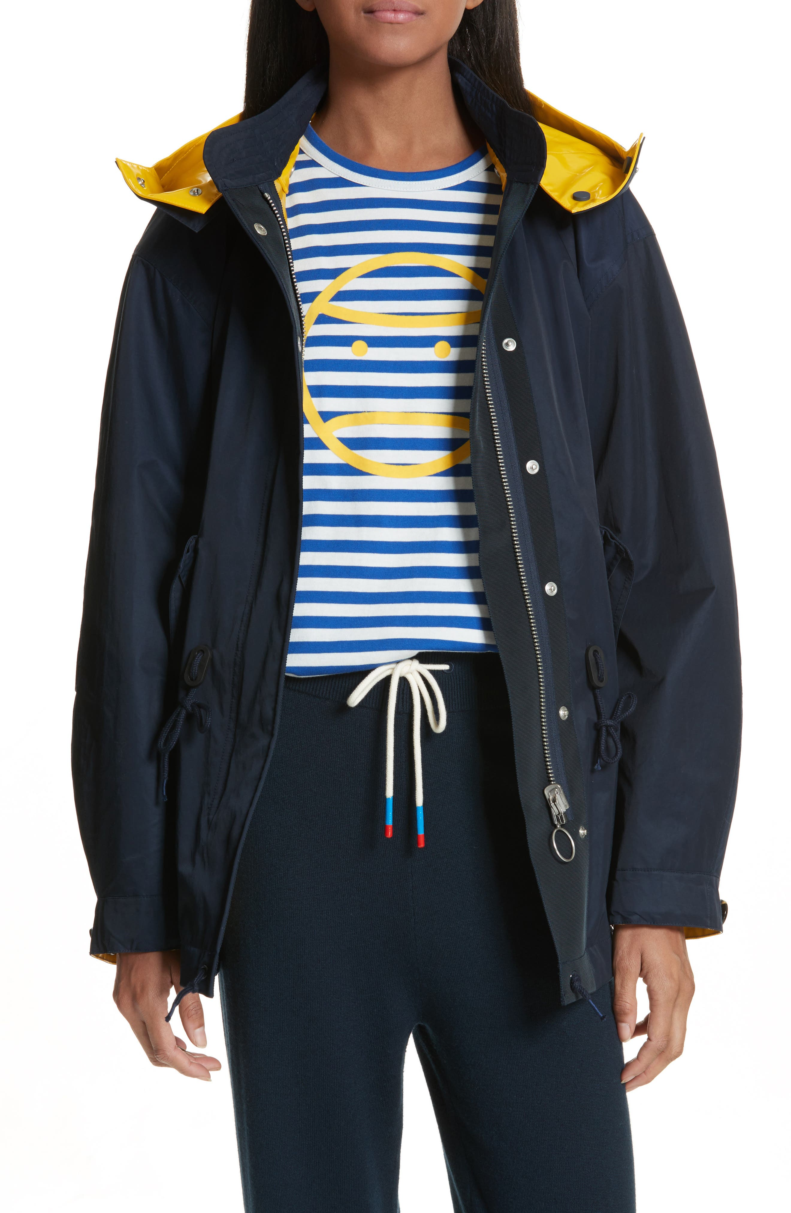 Reversible Rain Jacket,                             Alternate thumbnail 4, color,                             Tory Navy/ Cyber Yellow