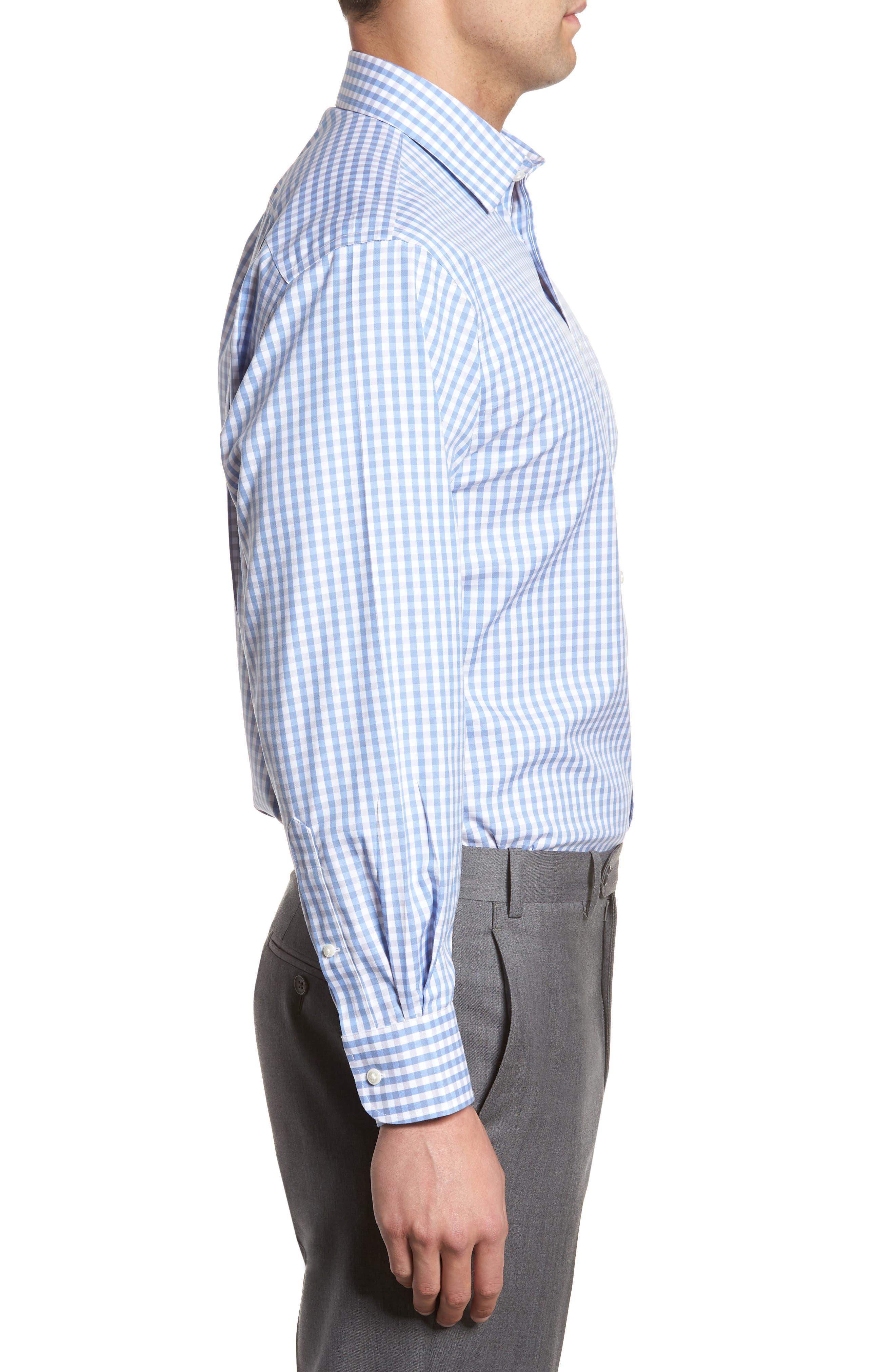 Smartcare<sup>™</sup> Classic Fit Check Dress Shirt,                             Alternate thumbnail 4, color,                             Grey Micro