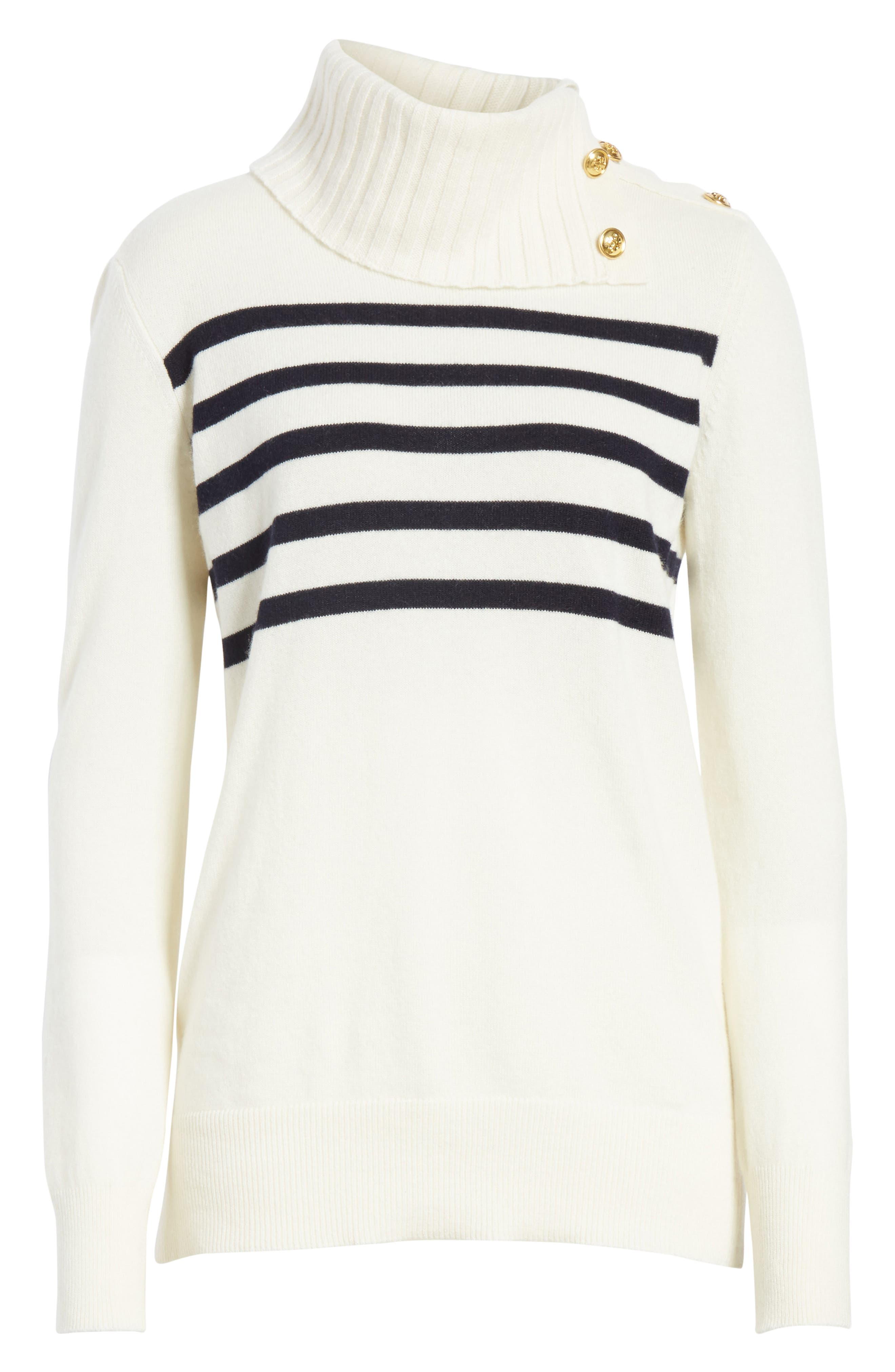 Sandra Cashmere Sweater,                             Alternate thumbnail 6, color,                             New Ivory / Tory Navy