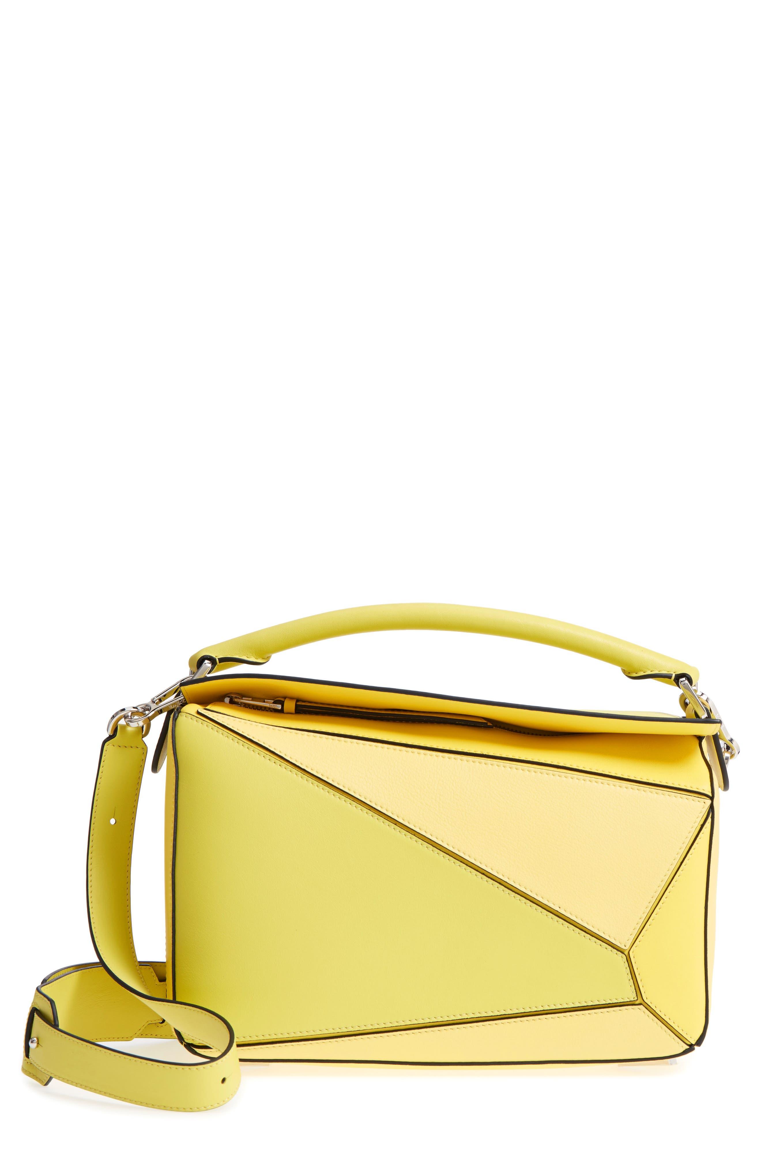 Medium Puzzle Calfskin Leather Shoulder Bag,                             Main thumbnail 1, color,                             Yellow Multitone