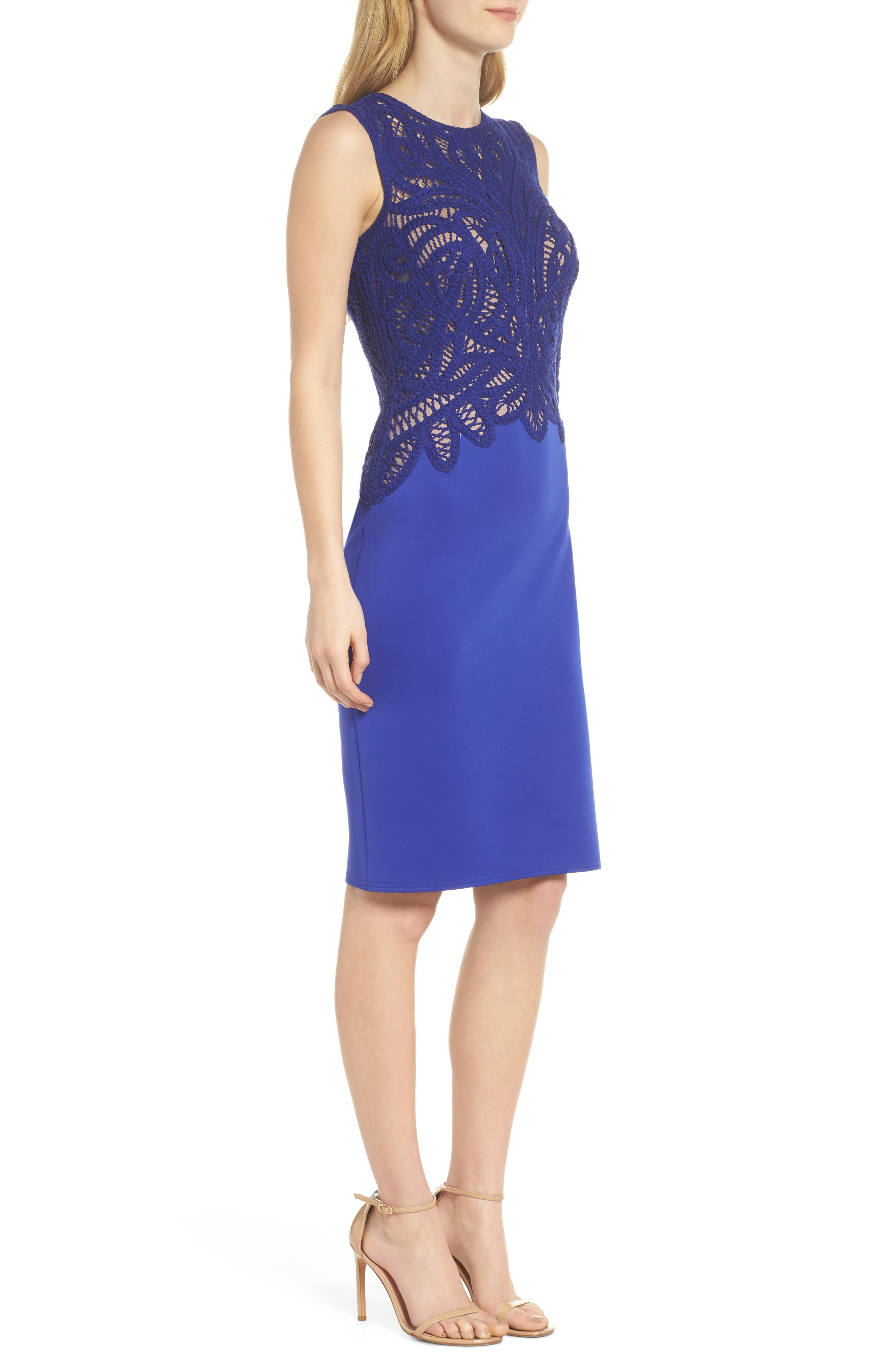 Alternate Image 3  - Tadashi Shoji Crochet & Crepe Sheath Dress