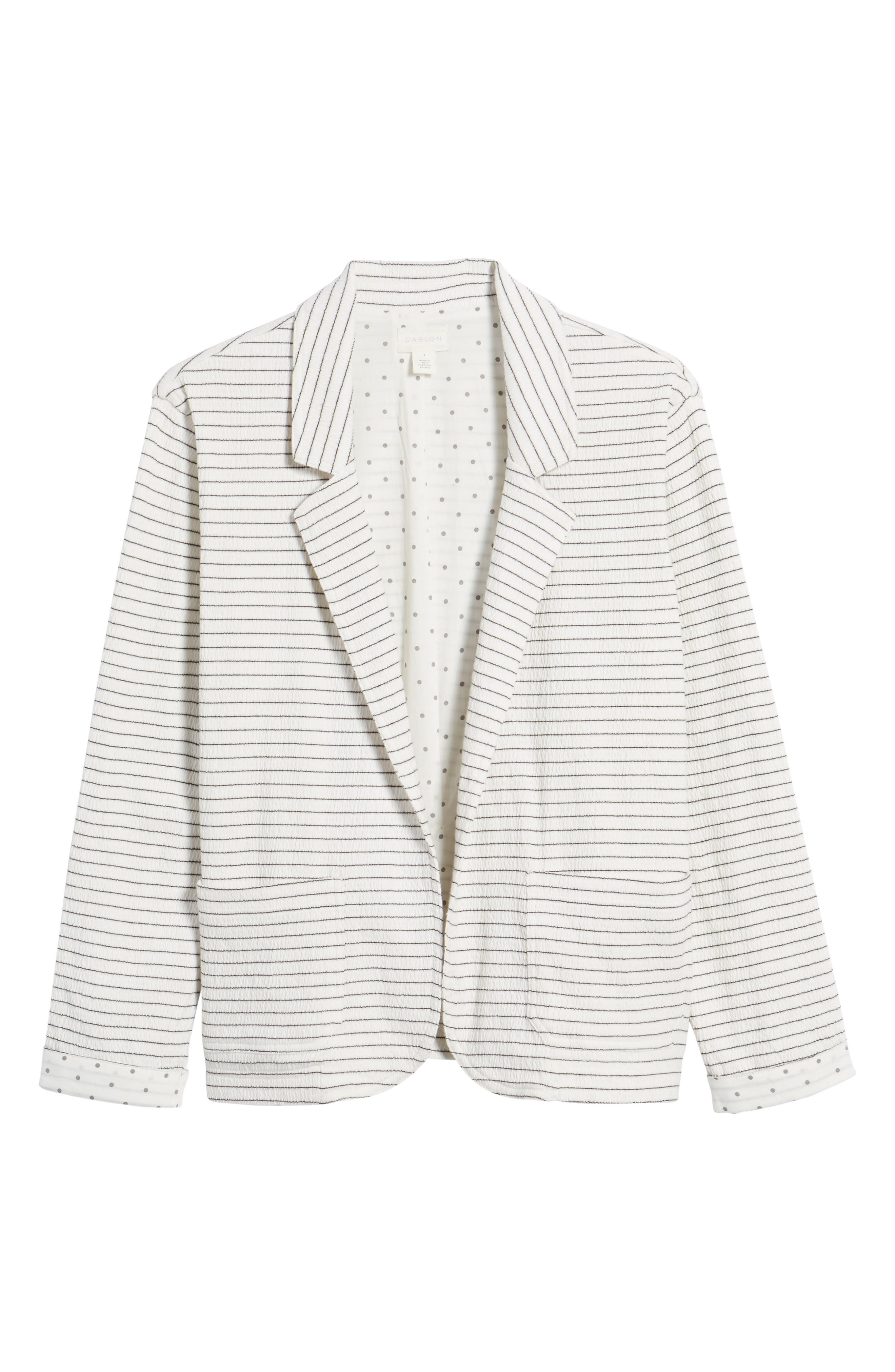 Crinkle Stretch Cotton Lined Blazer,                             Alternate thumbnail 6, color,                             Ivory- Black Stripe