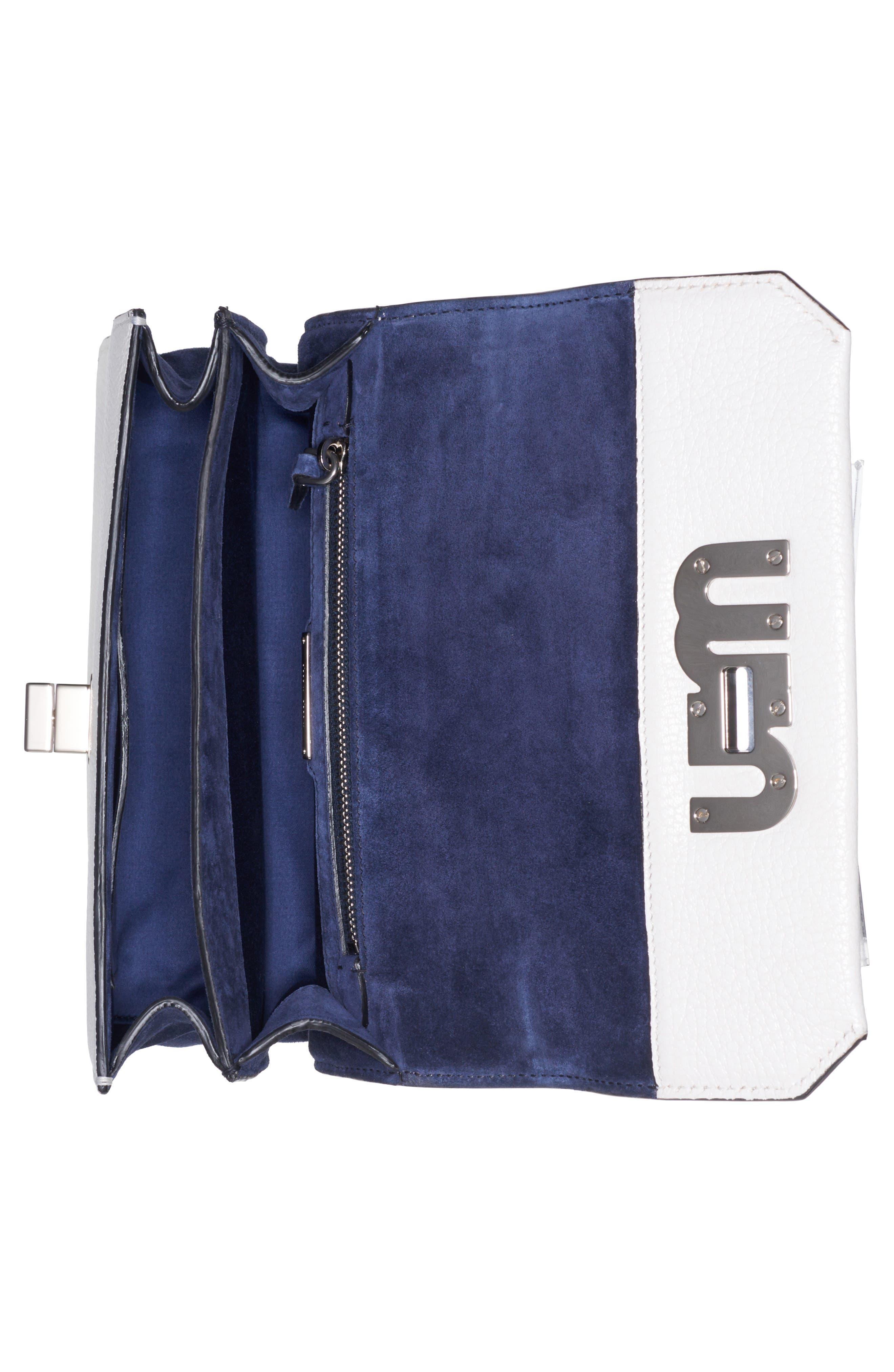 Leather Crossbody Bag,                             Alternate thumbnail 3, color,                             Bianco/ Baltico