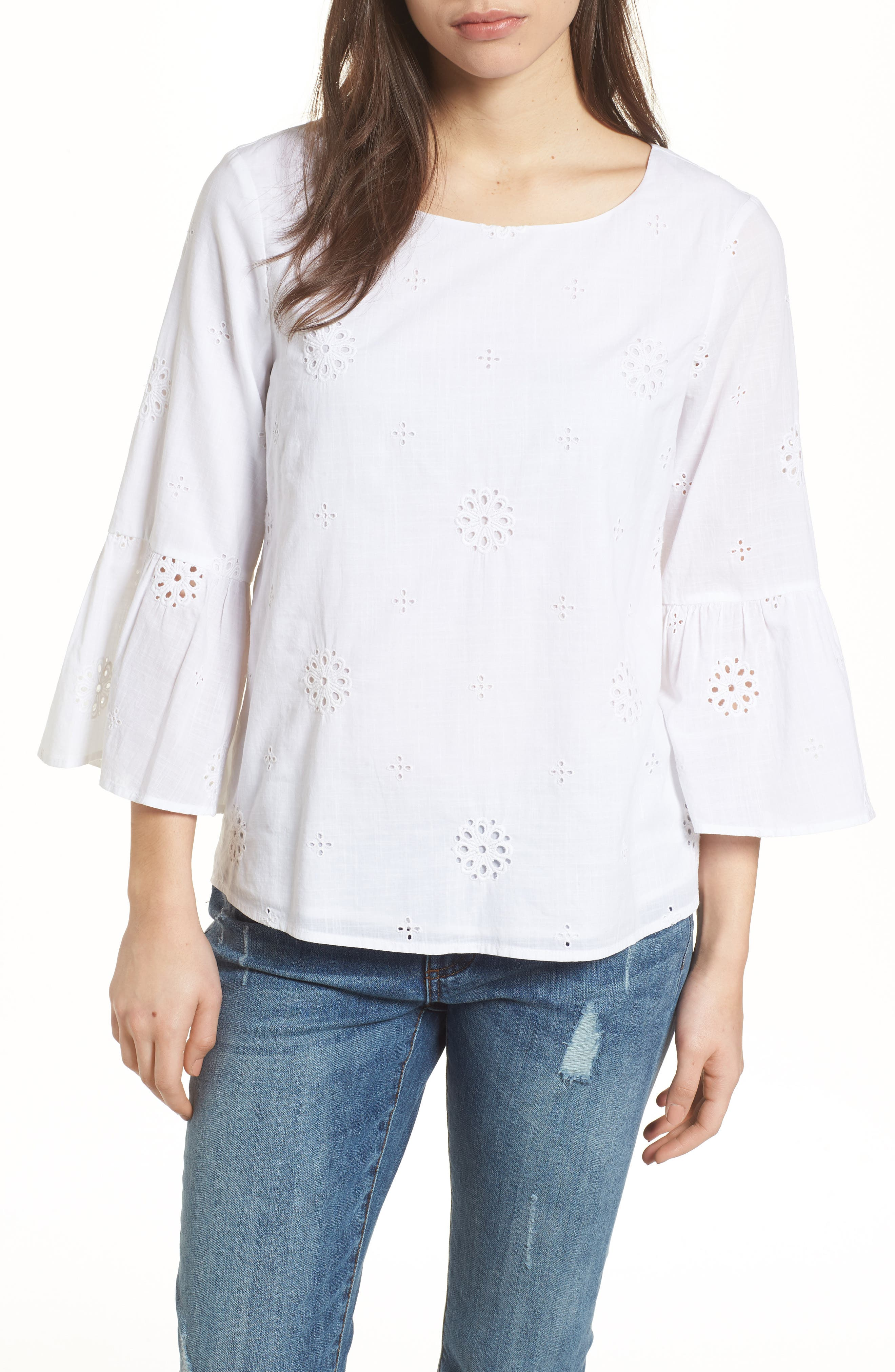 Eyelet Bell Sleeve Cotton Top,                         Main,                         color, White Cap