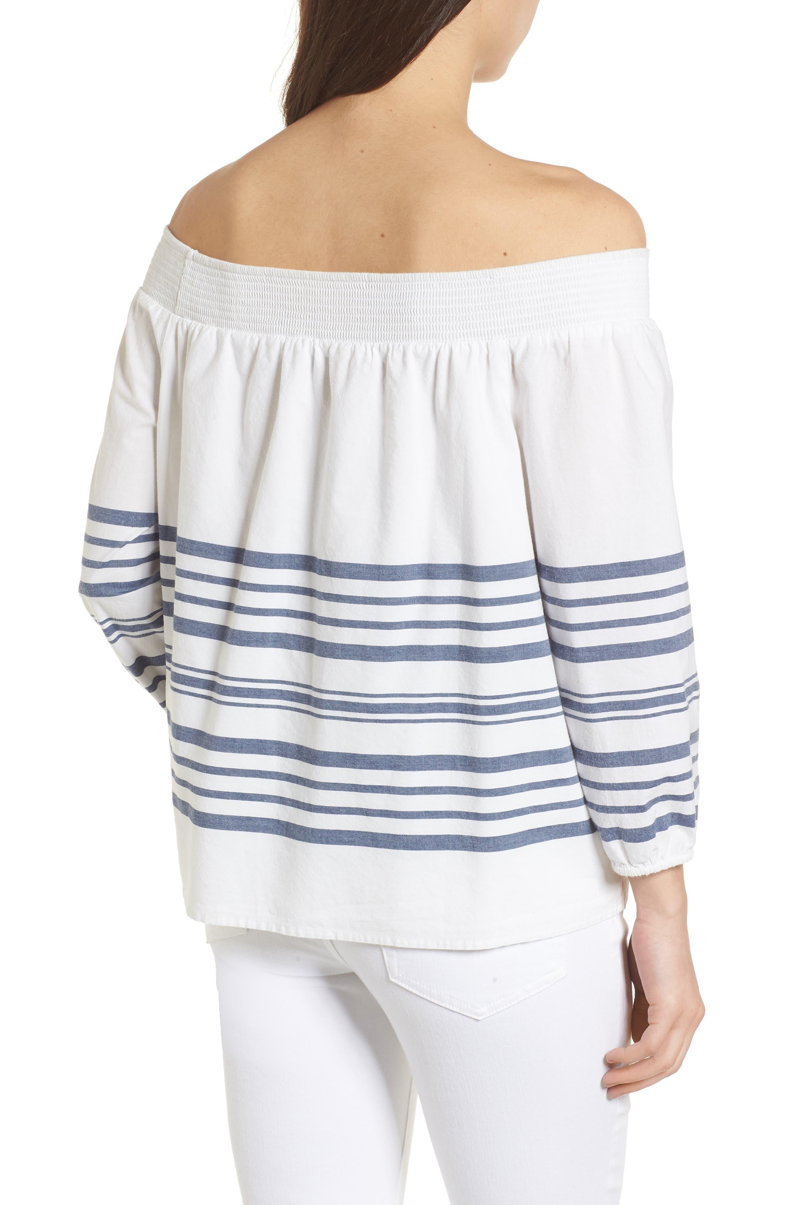 Breaker Stripe Off the Shoulder Cotton Top,                             Alternate thumbnail 2, color,                             White Cap