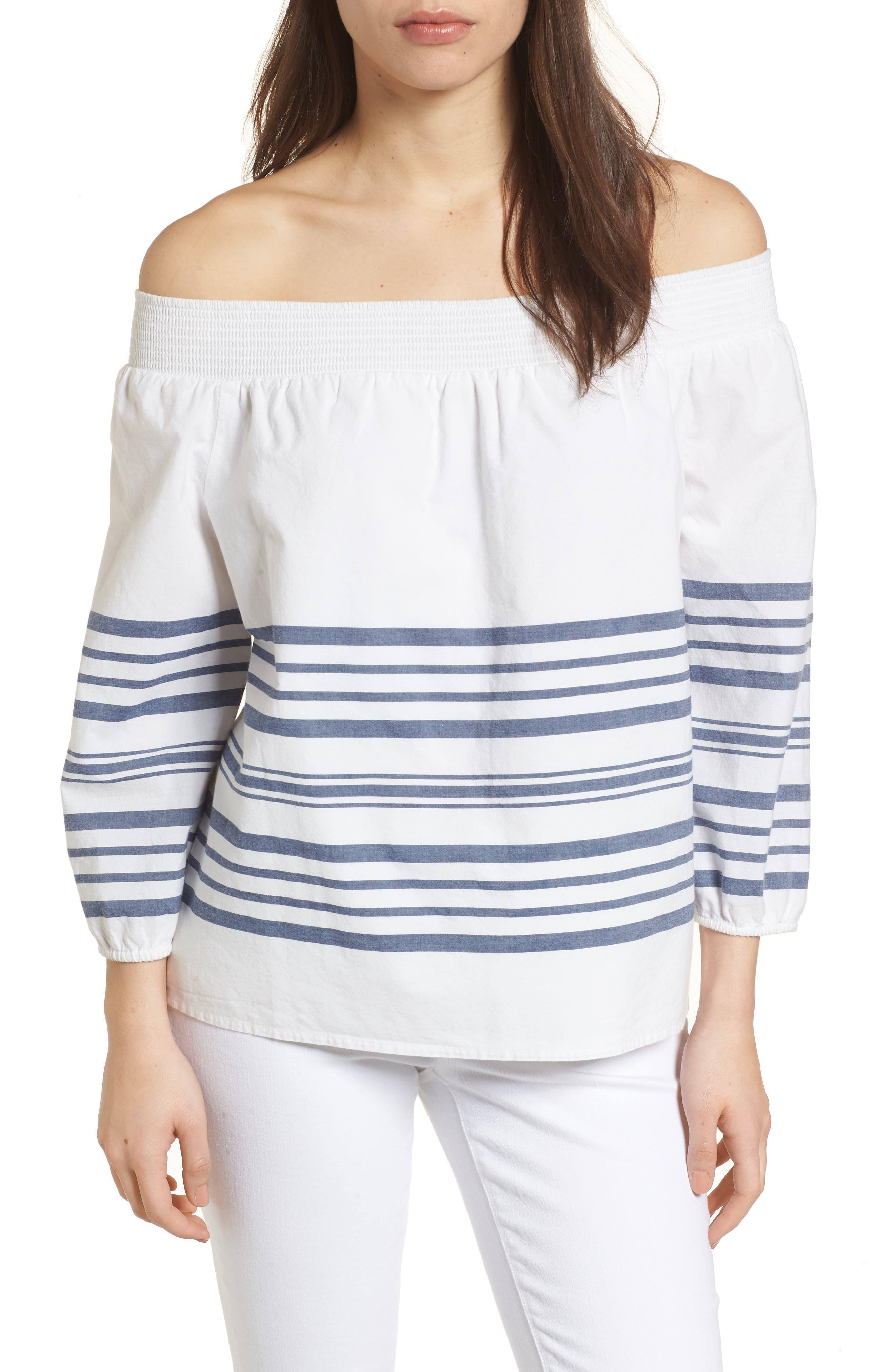 Breaker Stripe Off the Shoulder Cotton Top,                             Main thumbnail 1, color,                             White Cap