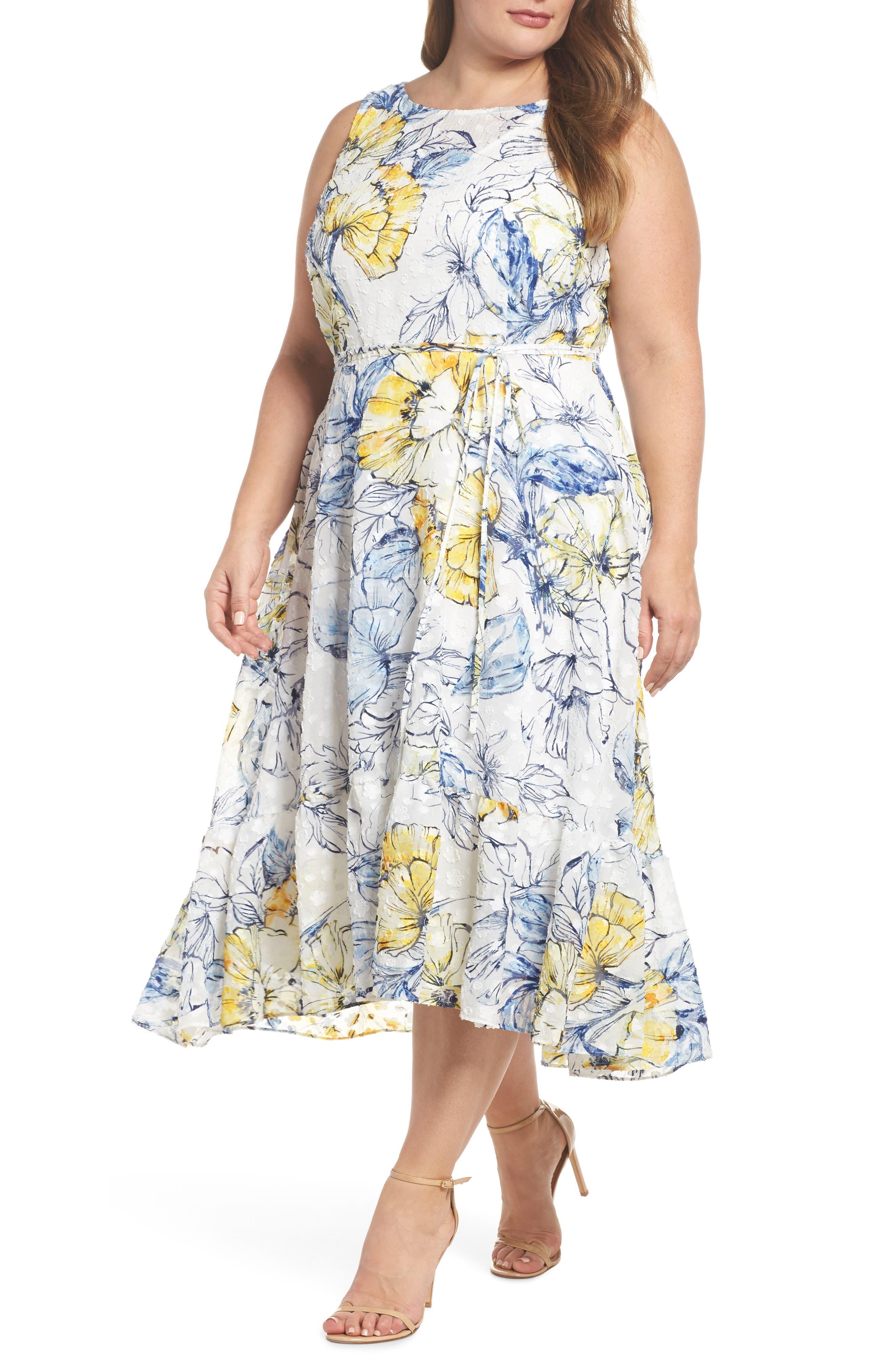 Floral Print High/Low Midi Dress,                             Main thumbnail 1, color,                             Denim/ Sun