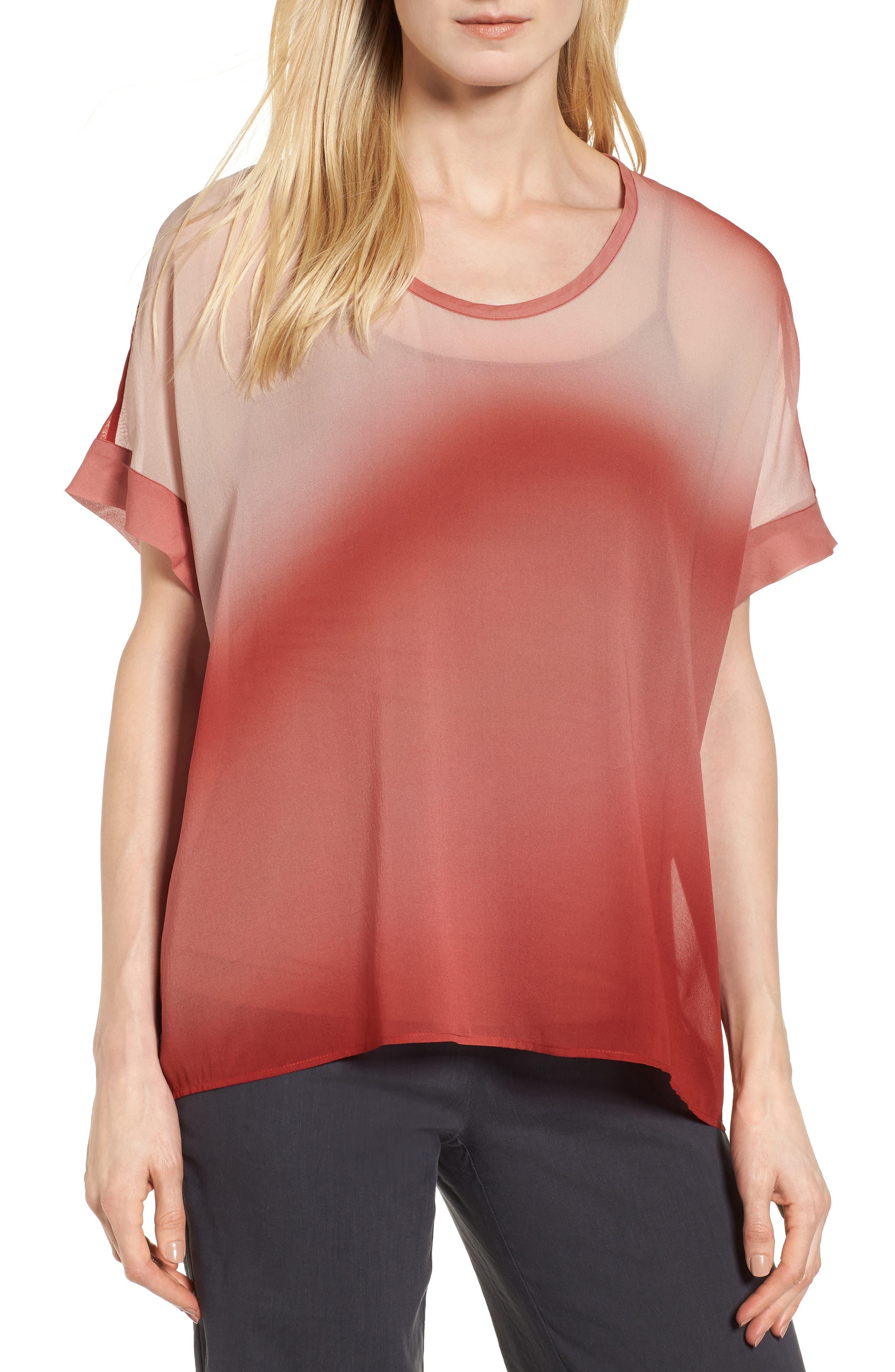 Ombré Silk Short Sleeve Top,                         Main,                         color, Serrano