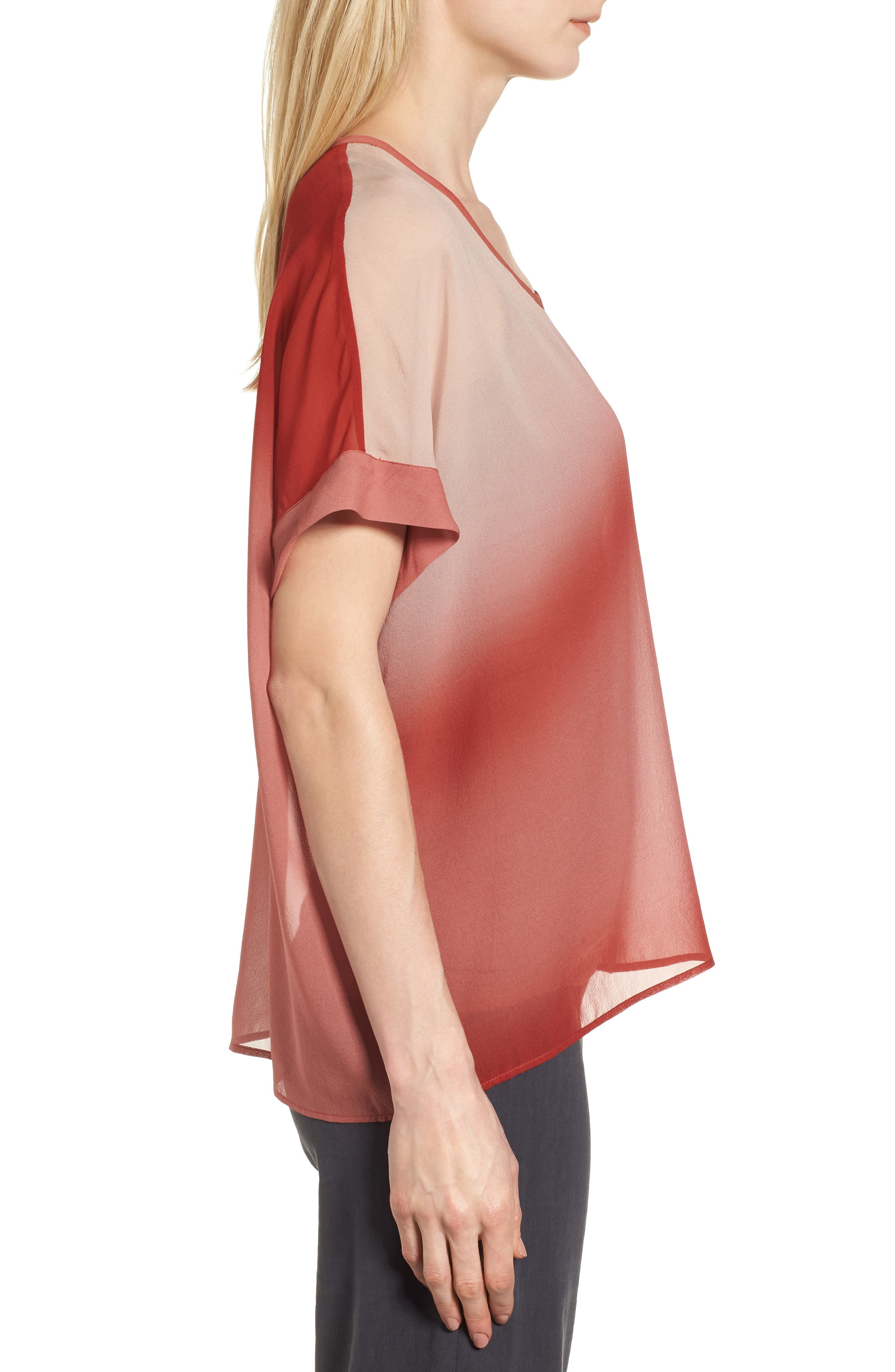 Ombré Silk Short Sleeve Top,                             Alternate thumbnail 3, color,                             Serrano