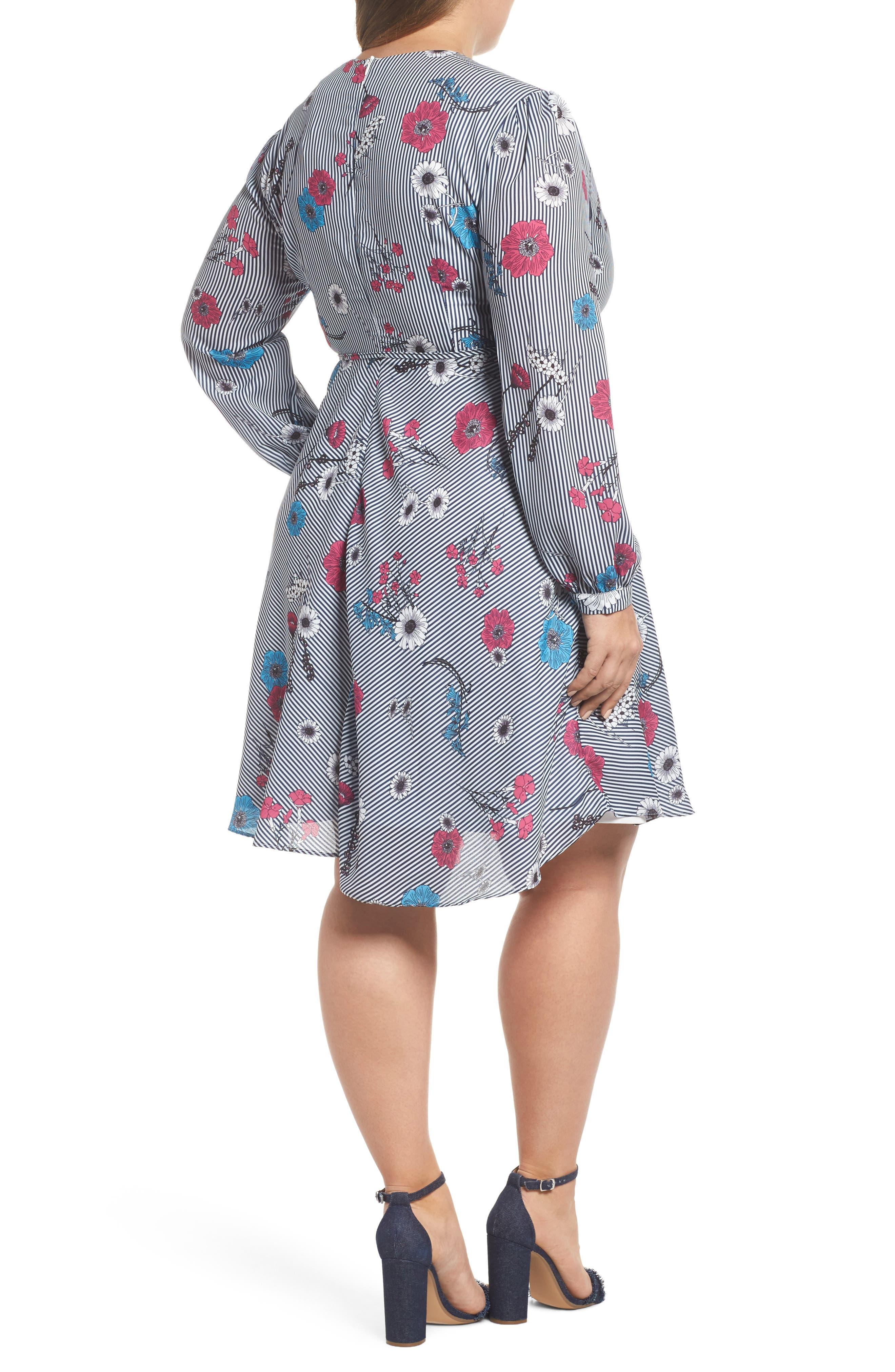 Floral Stripe Belted Dress,                             Alternate thumbnail 2, color,                             Blue Stripe Floral