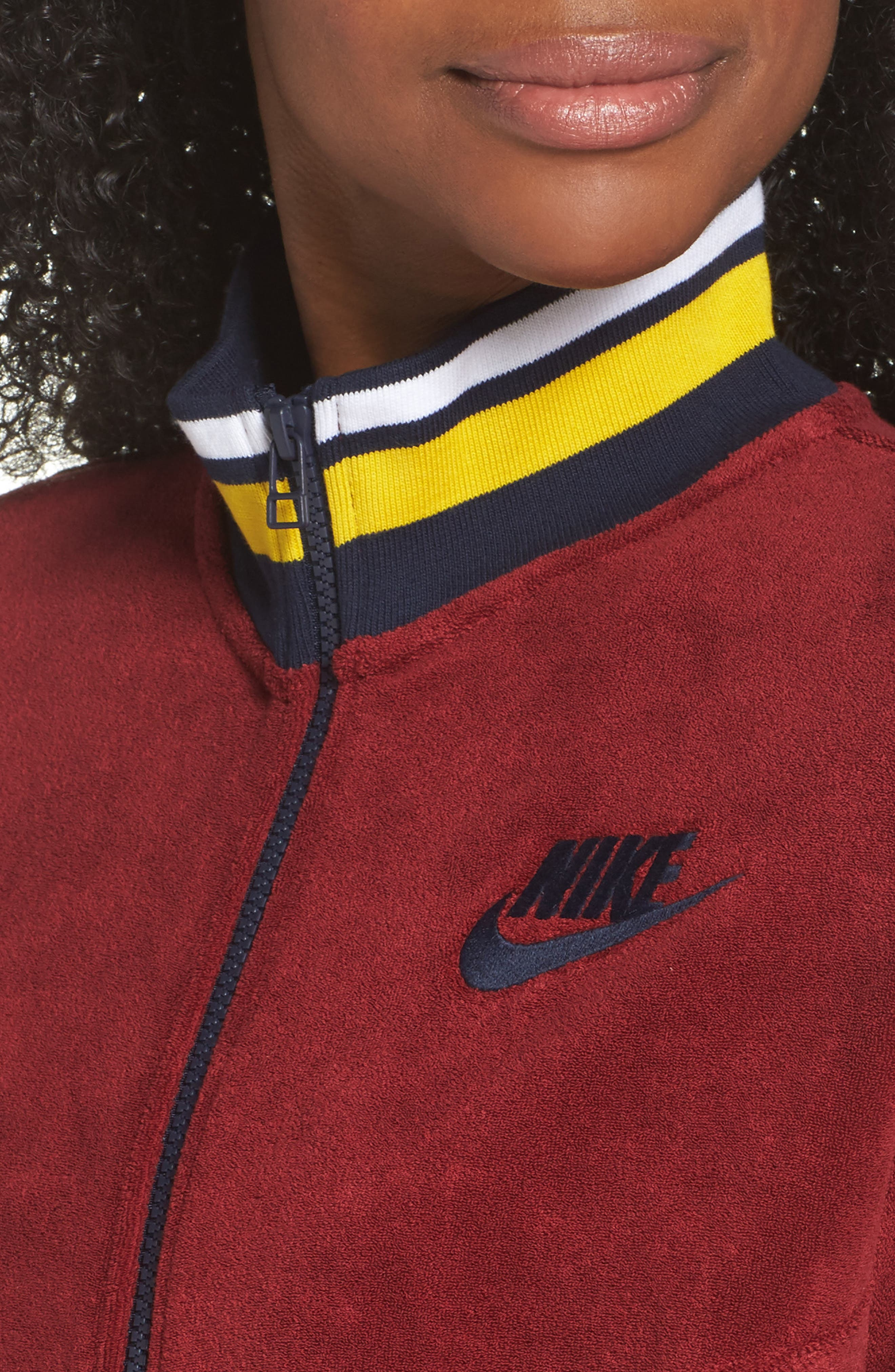Sportswear French Terry Jacket,                             Alternate thumbnail 4, color,                             Team Red/ Team Red/ Obsidian